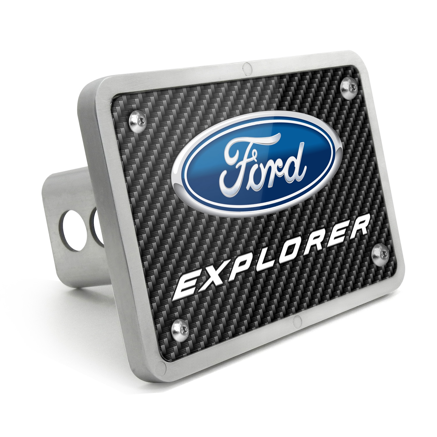 Ford Explorer Black Carbon Fiber Texture Plate Billet Aluminum 2 inch Tow Hitch Cover