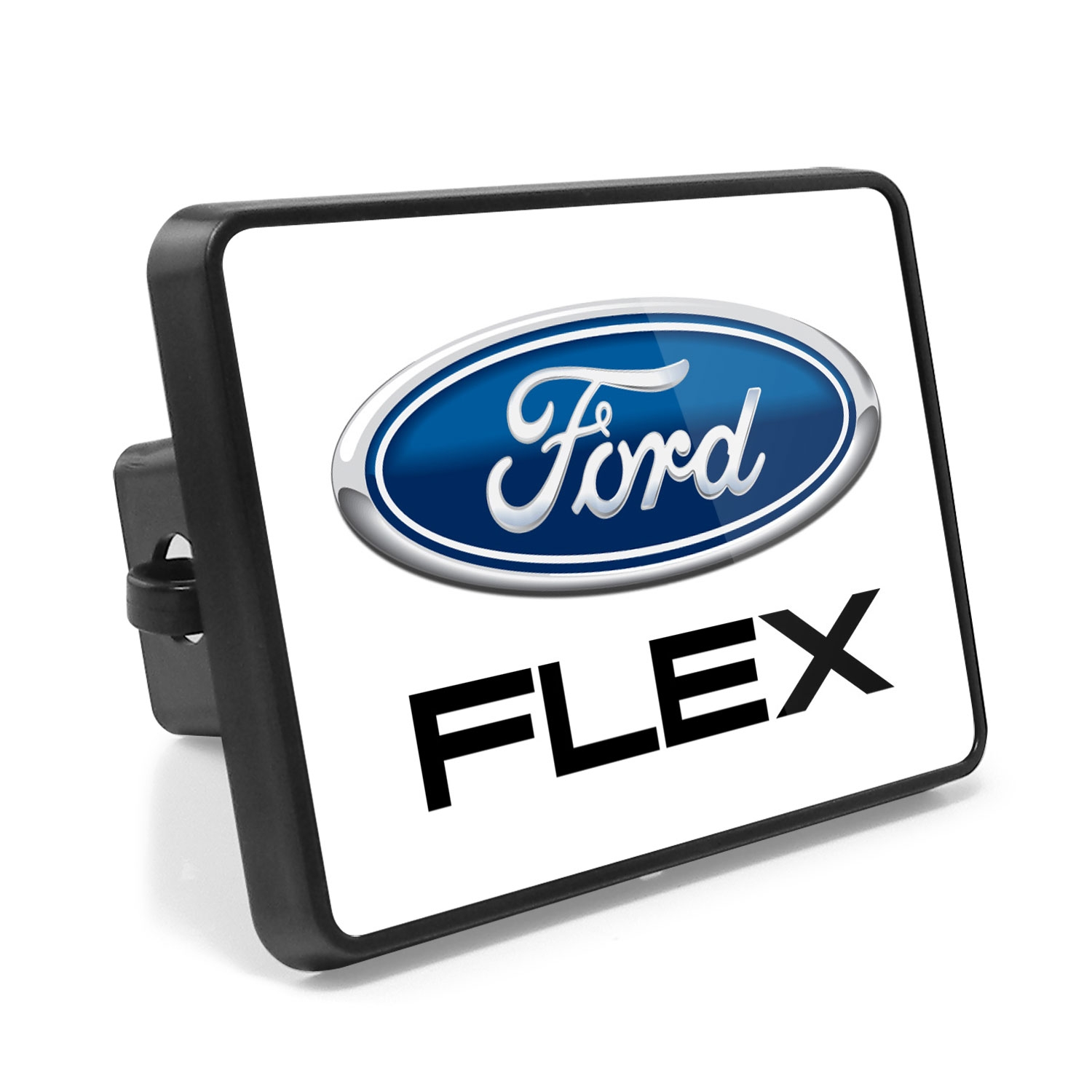 Ford Flex UV Graphic White Metal Plate on ABS Plastic 2 inch Tow Hitch Cover