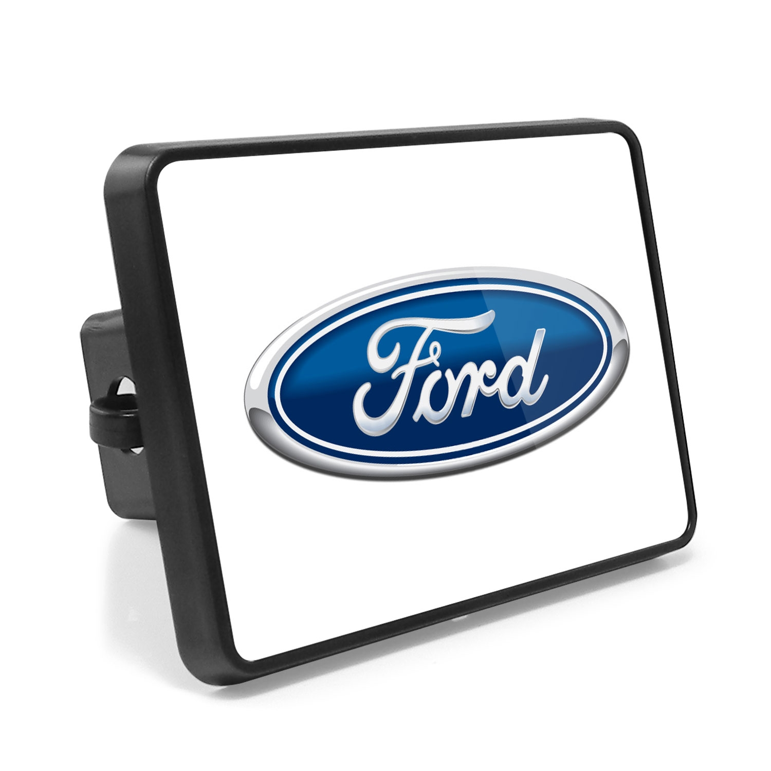 Ford Logo UV Graphic White Metal Plate on ABS Plastic 2 inch Tow Hitch Cover