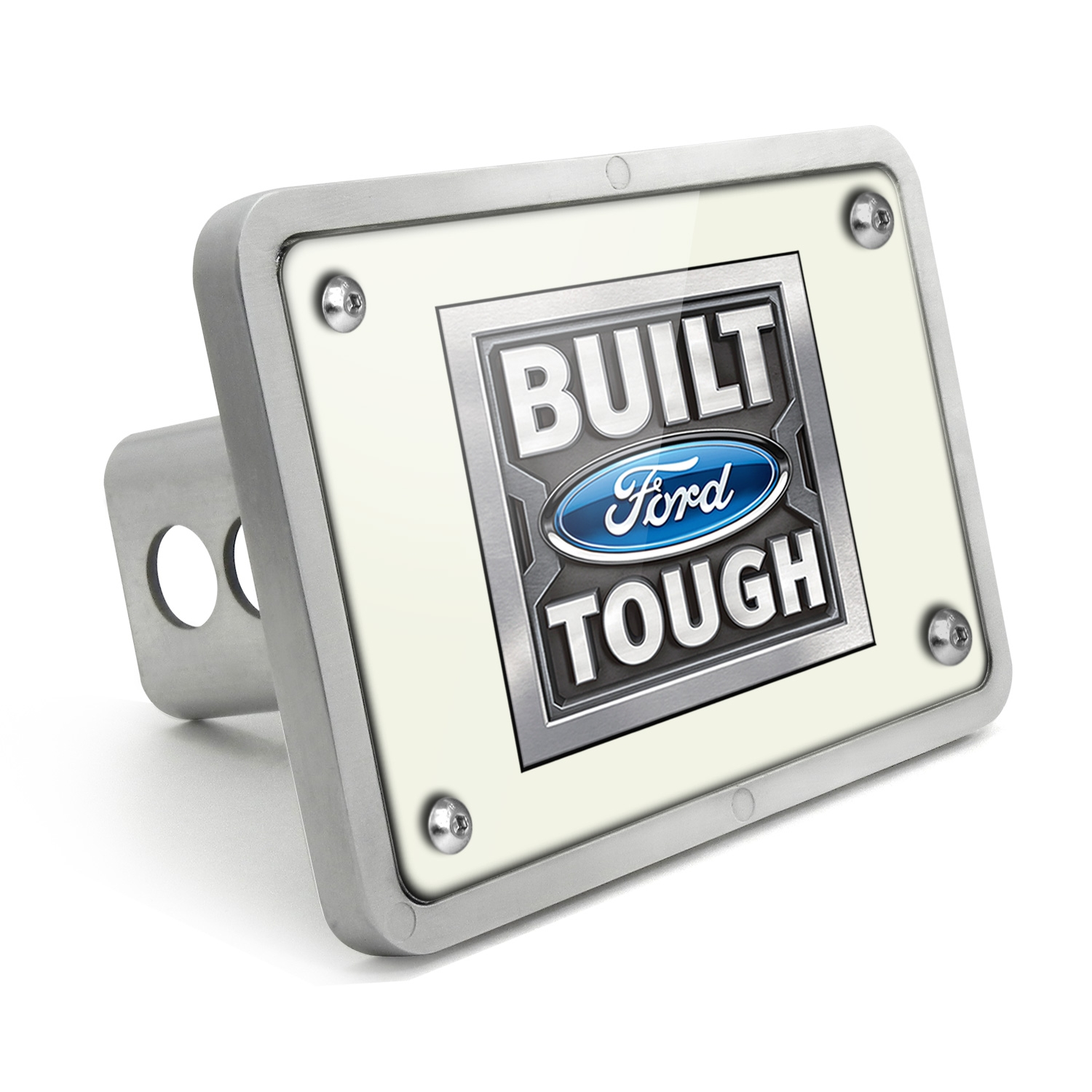 Ford Built Ford Tough UV Graphic White Plate Billet Aluminum 2 inch Tow Hitch Cover