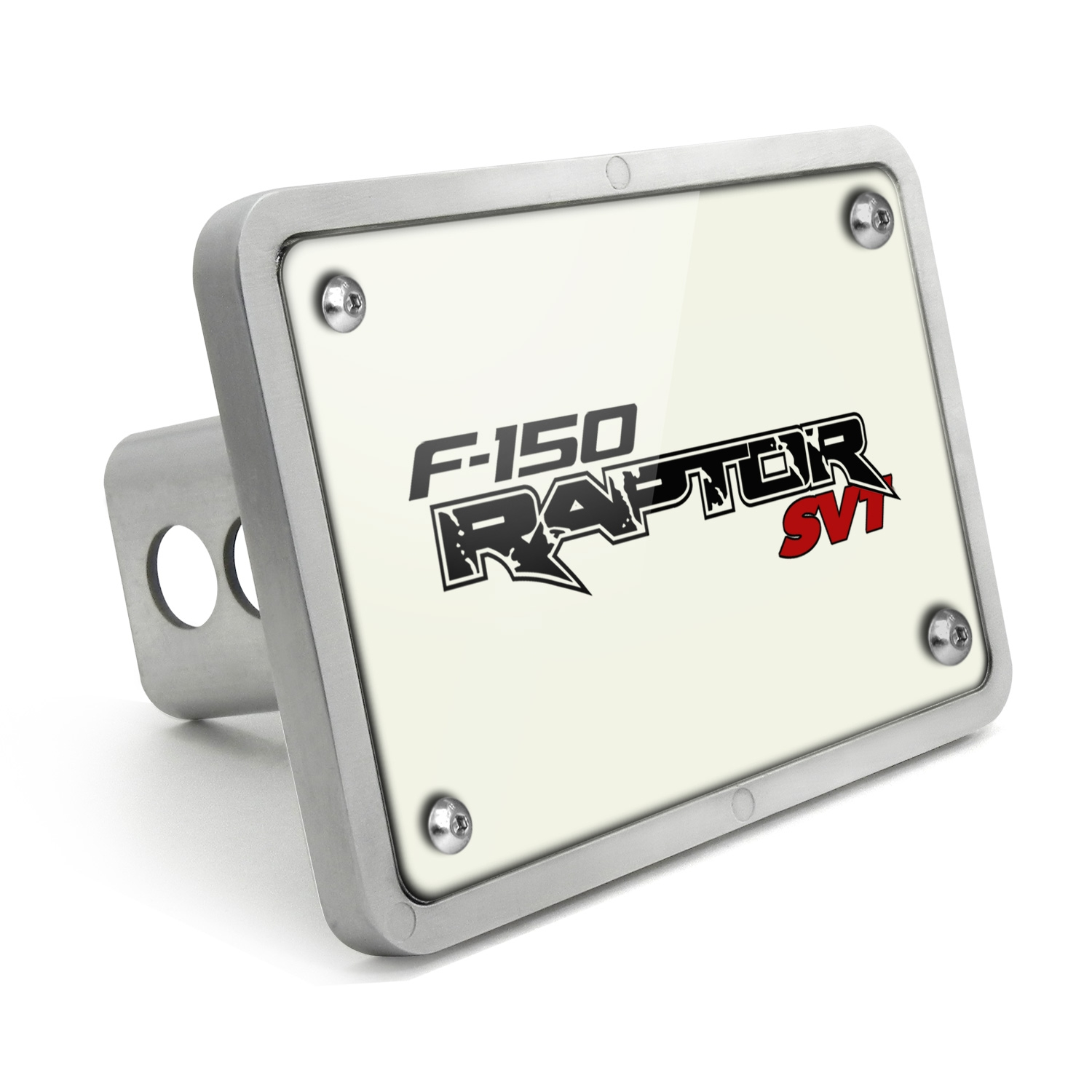 Ford Raptor SVT UV Graphic White Plate Billet Aluminum 2 inch Tow Hitch Cover