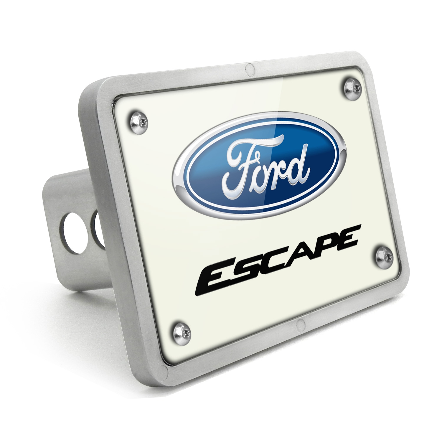 Ford Escape UV Graphic White Plate Billet Aluminum 2 inch Tow Hitch Cover