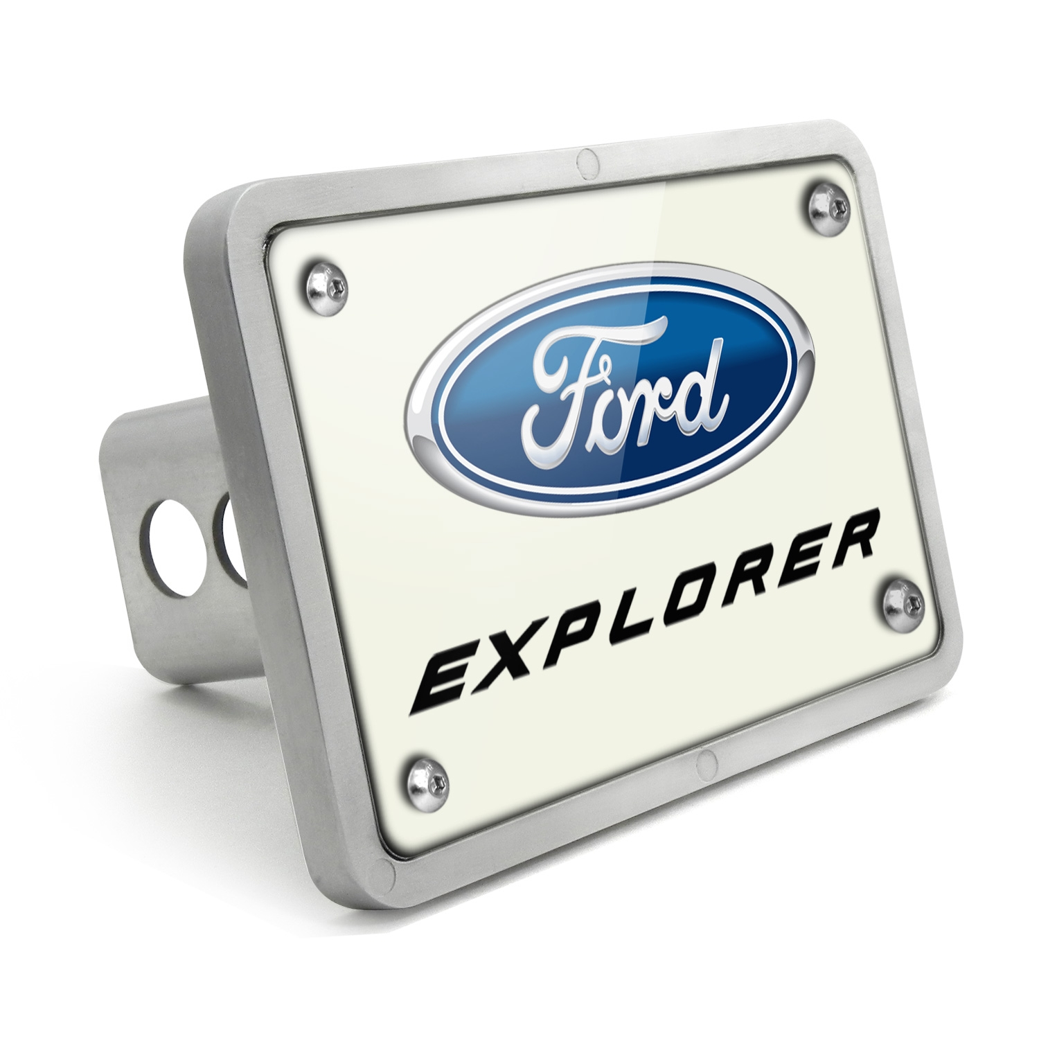 Ford Explorer UV Graphic White Plate Billet Aluminum 2 inch Tow Hitch Cover
