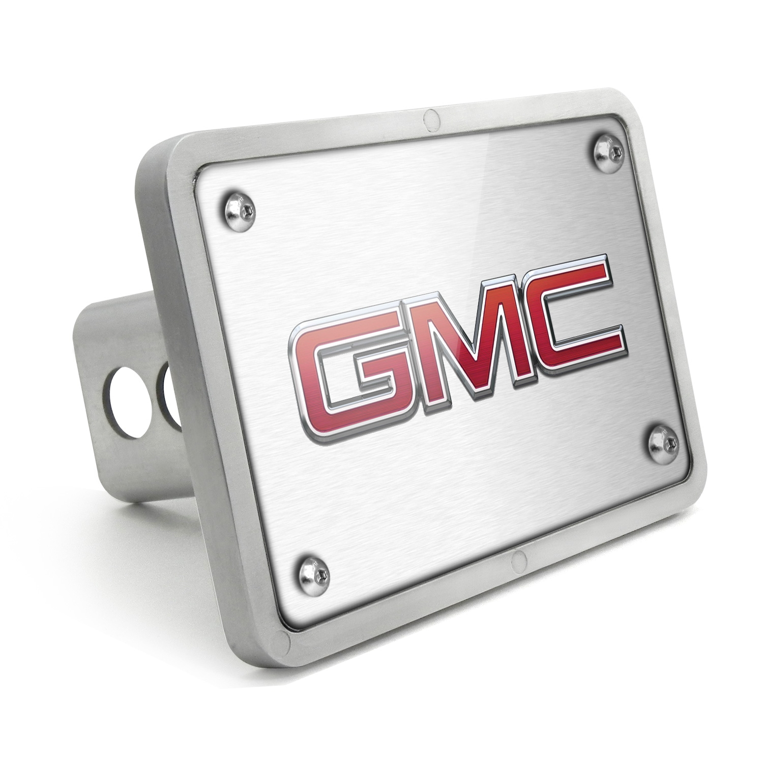 GMC UV Graphic Brushed Silver Billet Aluminum 2 inch Tow Hitch Cover