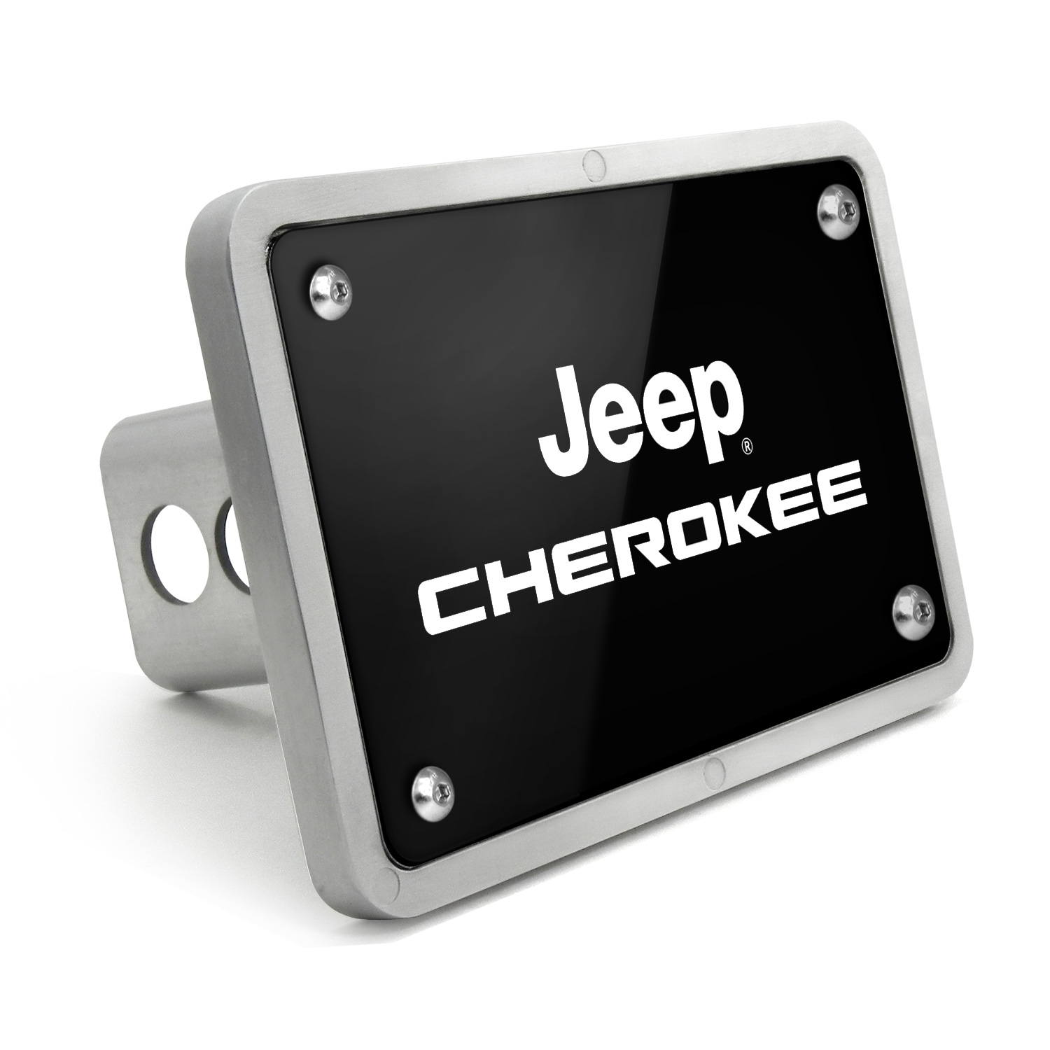 Jeep Cherokee UV Graphic Black Billet Aluminum 2 inch Tow Hitch Cover