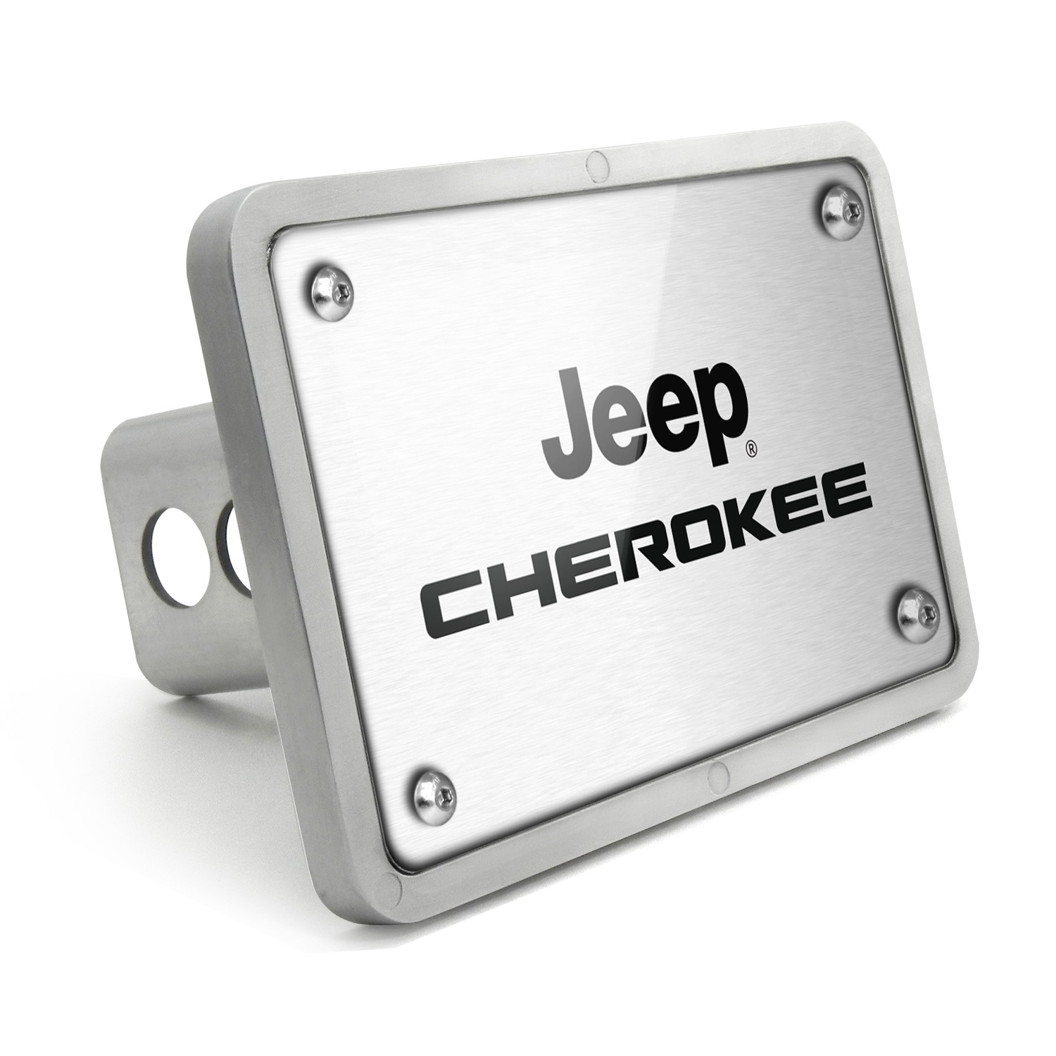 Jeep Cherokee UV Graphic Brushed Silver Billet Aluminum 2 inch Tow Hitch Cover