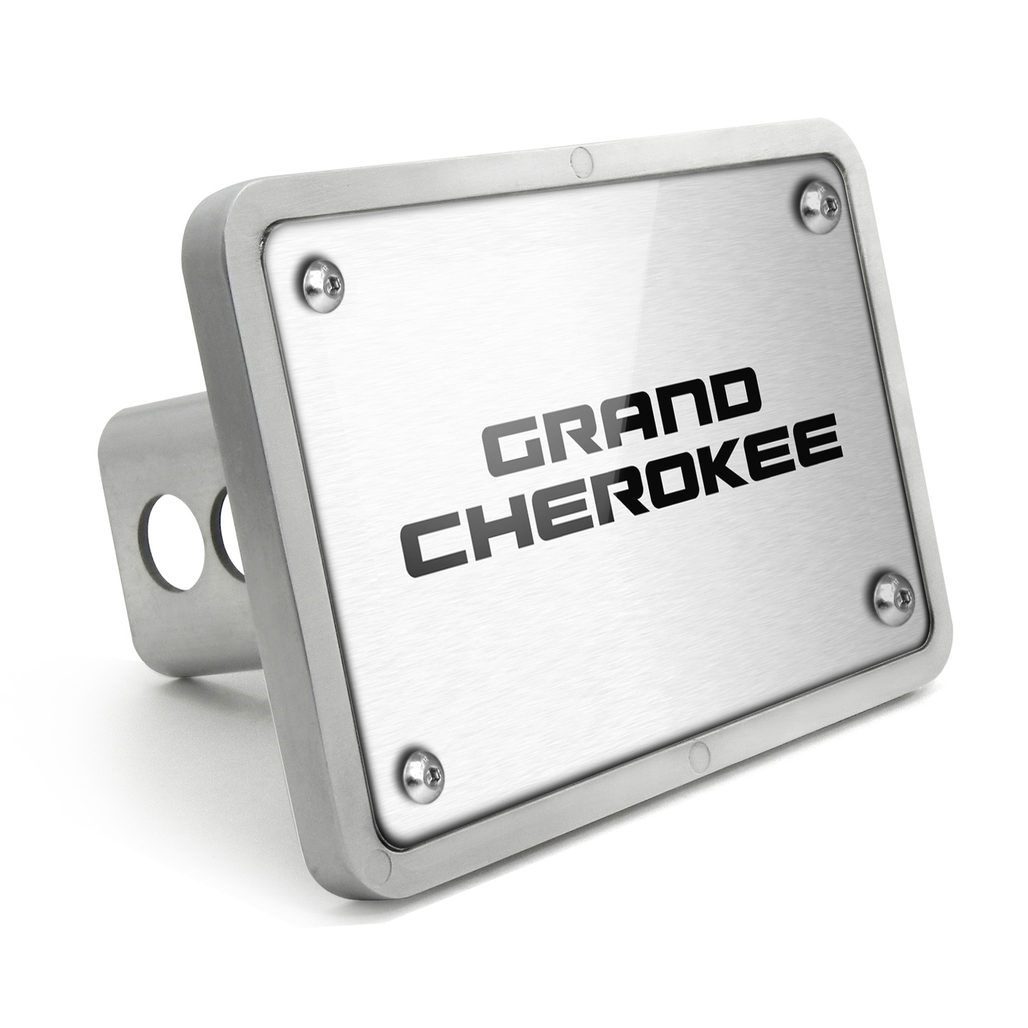 Jeep Grand Cherokee UV Graphic Brushed Silver Billet Aluminum 2 inch Tow Hitch Cover