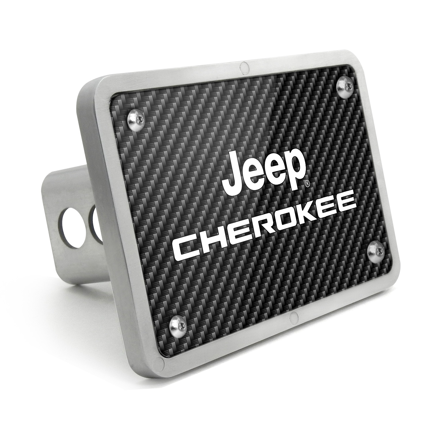 Jeep Cherokee UV Graphic Carbon Fiber Texture Billet Aluminum 2 inch Tow Hitch Cover