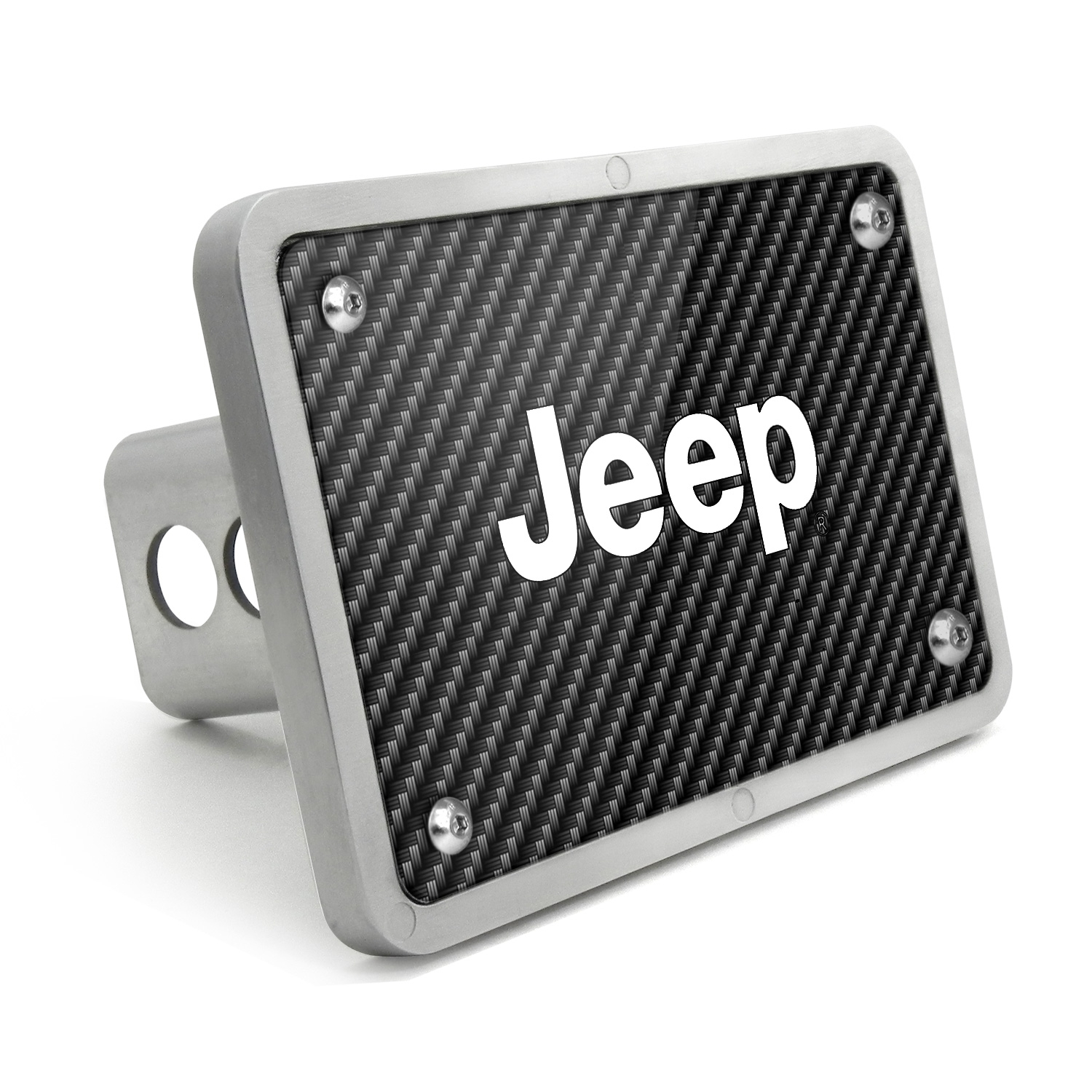 Jeep UV Graphic Carbon Fiber Texture Billet Aluminum 2 inch Tow Hitch Cover