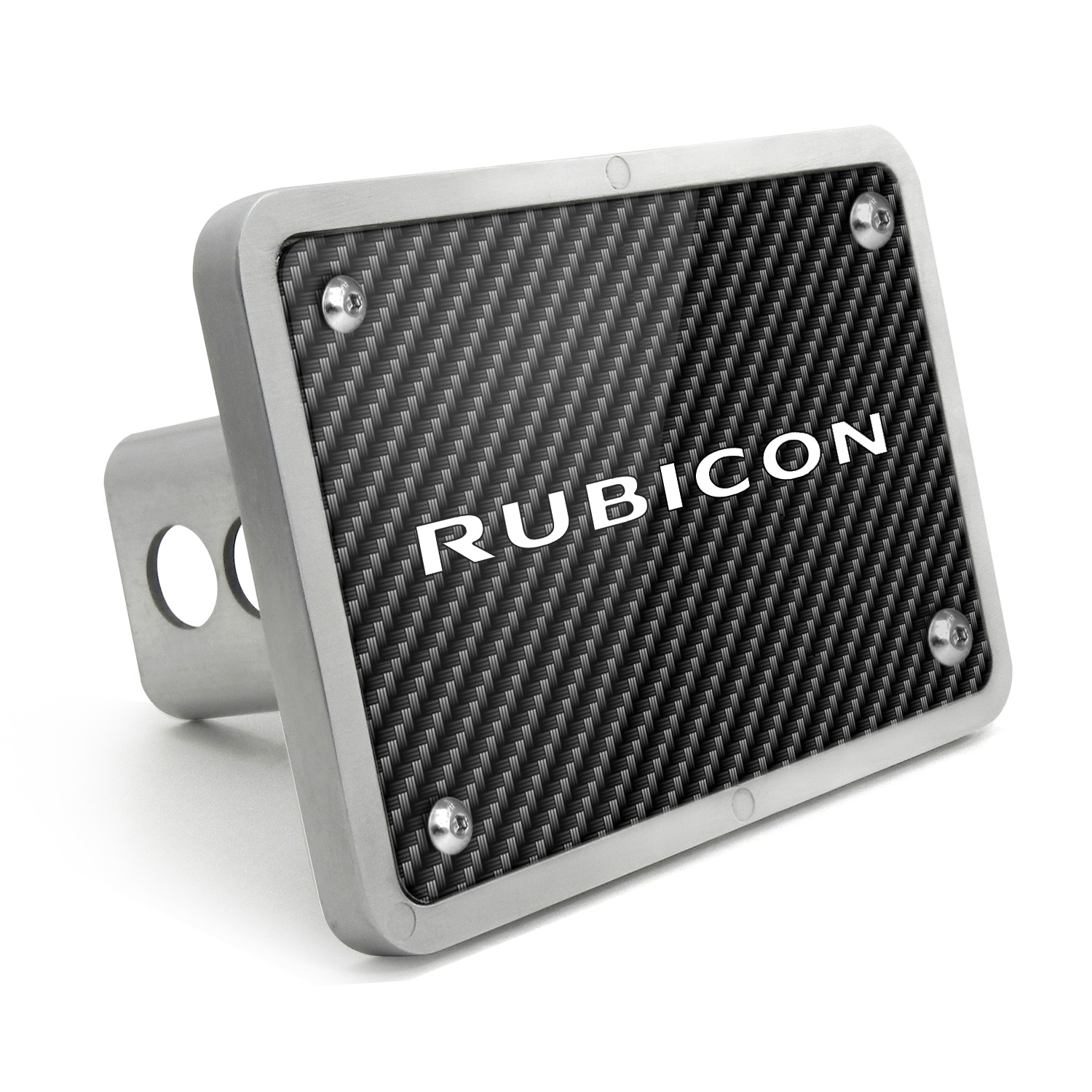 Jeep Rubicon UV Graphic Carbon Fiber Texture Billet Aluminum 2 inch Tow Hitch Cover
