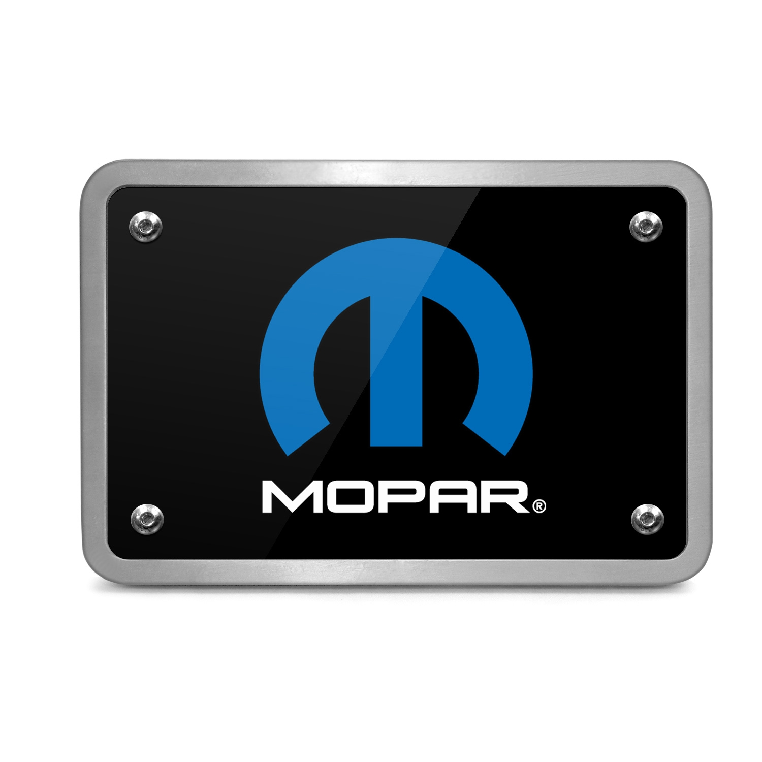 Mopar Logo UV Graphic Black Billet Aluminum 2 inch Tow Hitch Cover