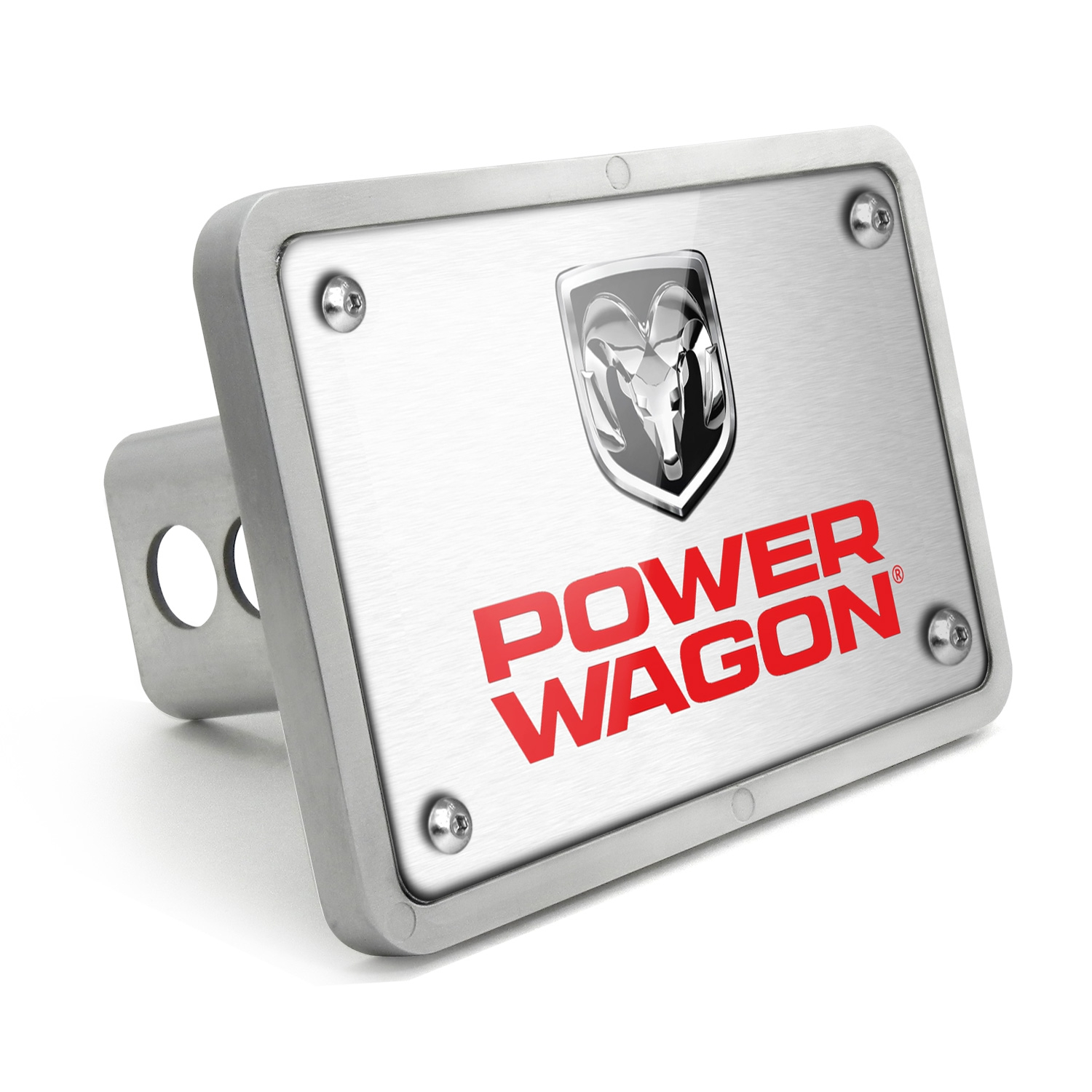 RAM Power Wagon UV Graphic Brushed Silver Billet Aluminum 2 inch Tow Hitch Cover