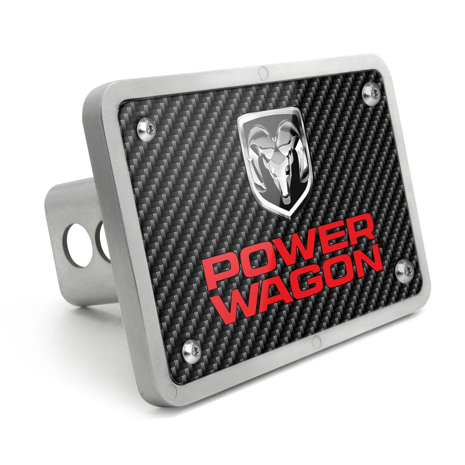 RAM Power Wagon UV Graphic Carbon Fiber Billet Aluminum 2 inch Tow Hitch Cover