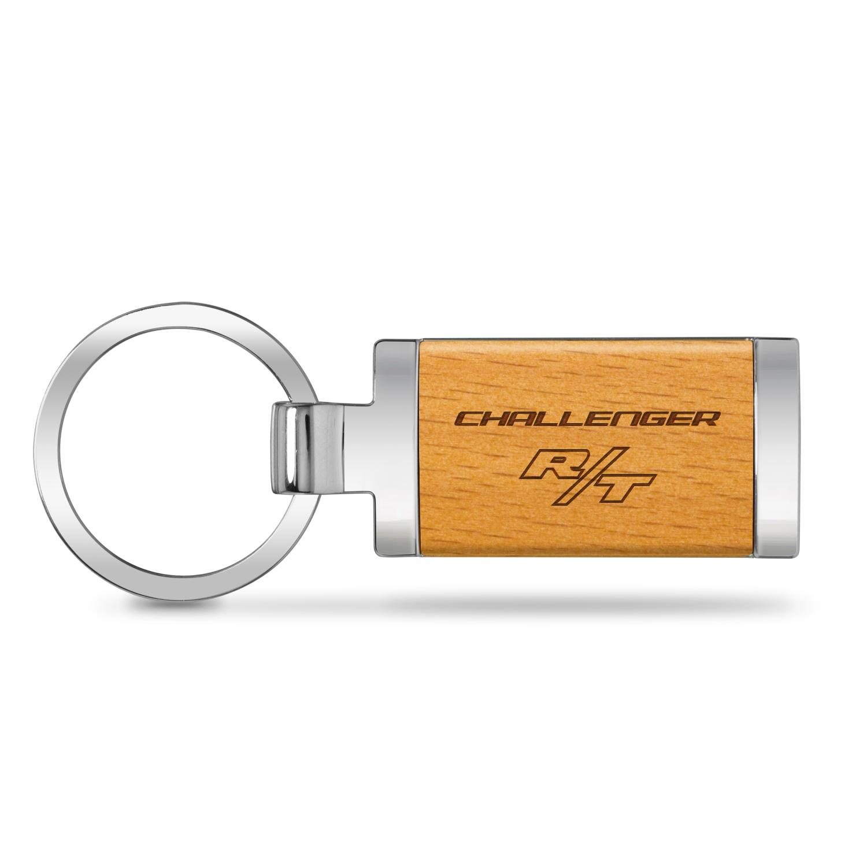 Dodge Challenger R/T Laser Engraved Maple Wood Chrome Metal Trim Key Chain