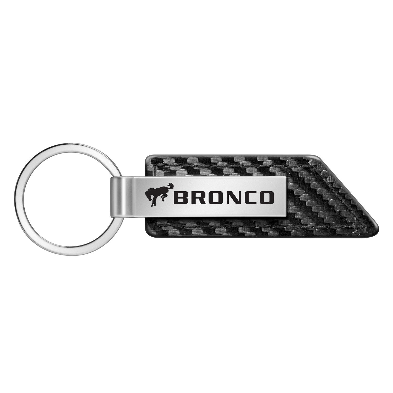 Ford Bronco Carbon Fiber Texture Black Leather Strap Key Chain