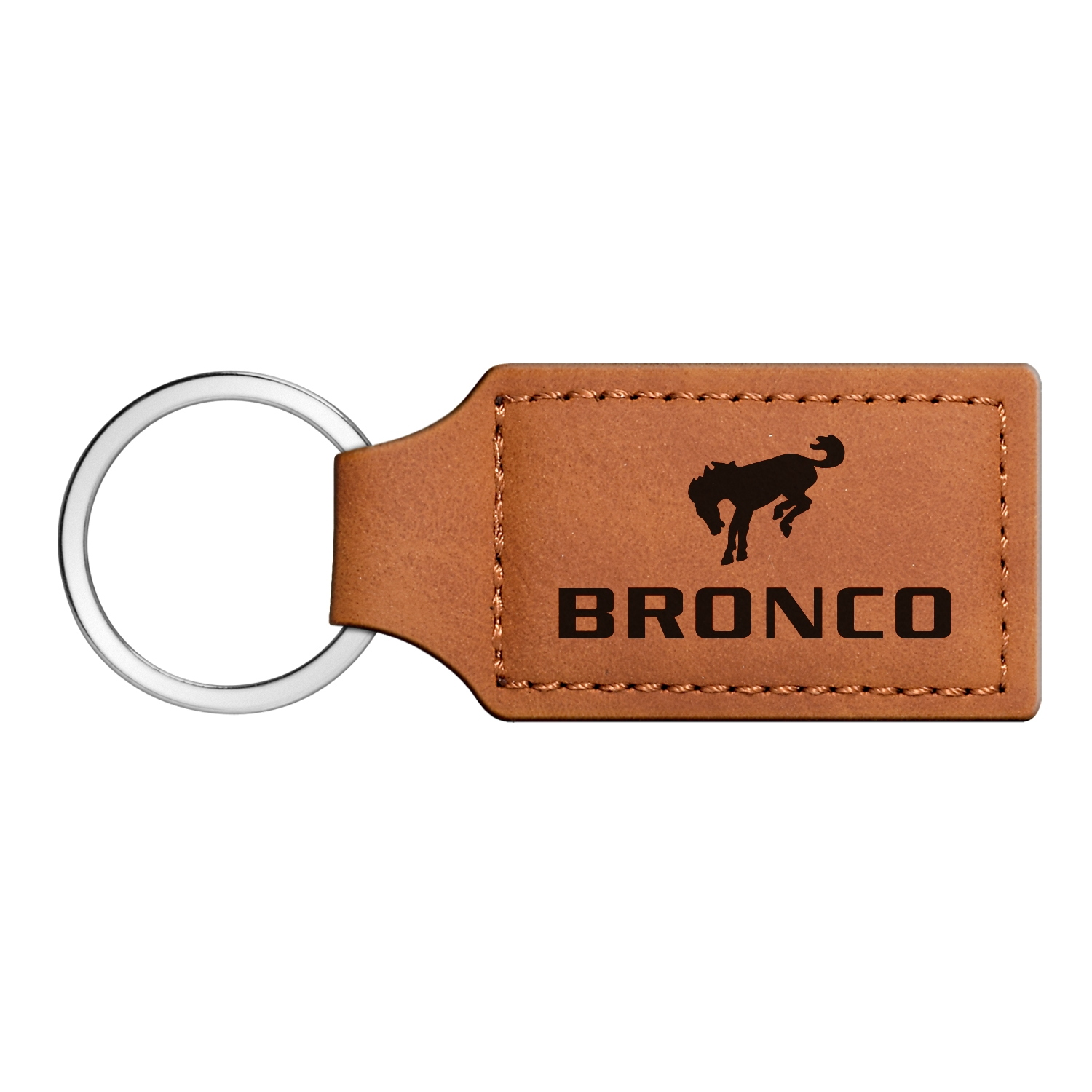 Ford Bronco Rectangular Brown Leather Key Chain
