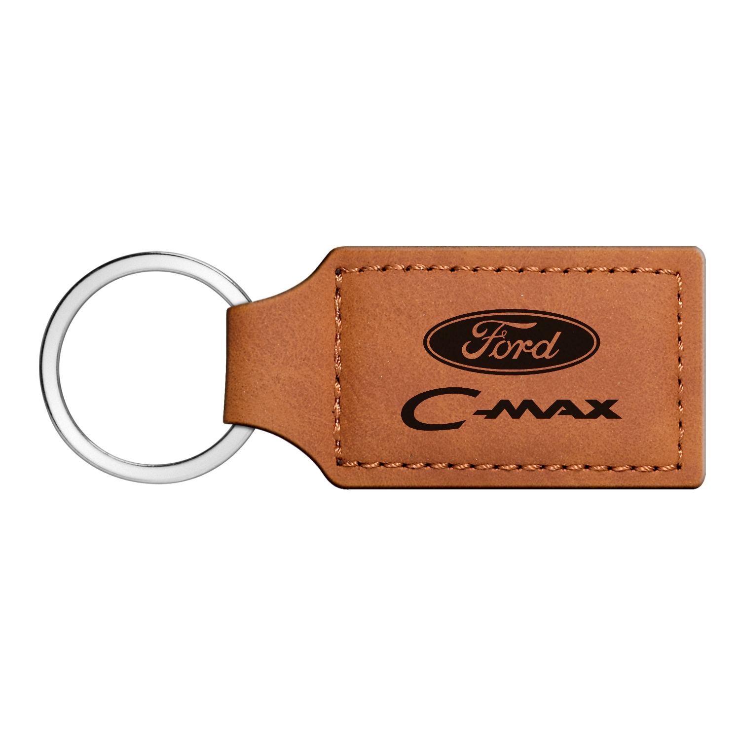 Ford C-Max Rectangular Brown Leather Key Chain