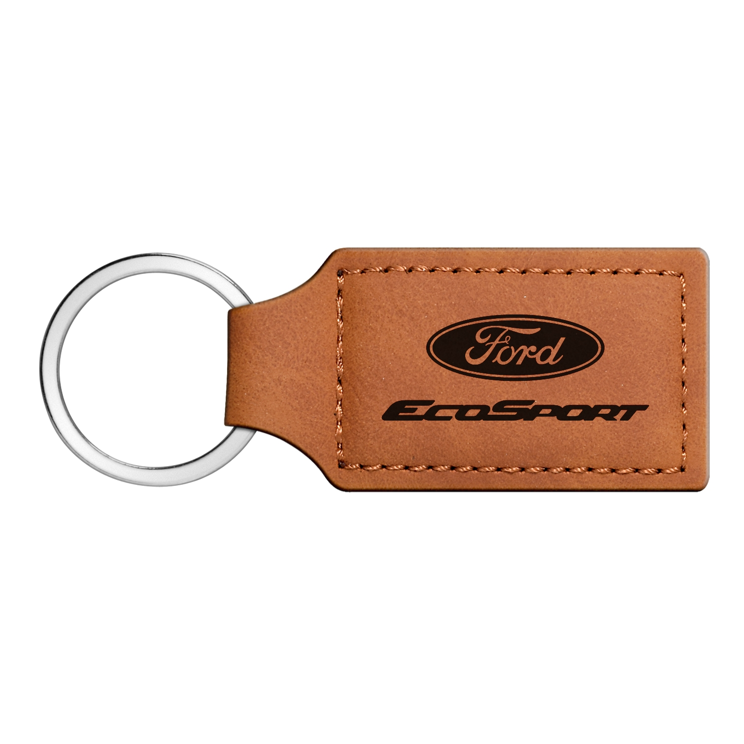 Ford EcoSport Rectangular Brown Leather Key Chain