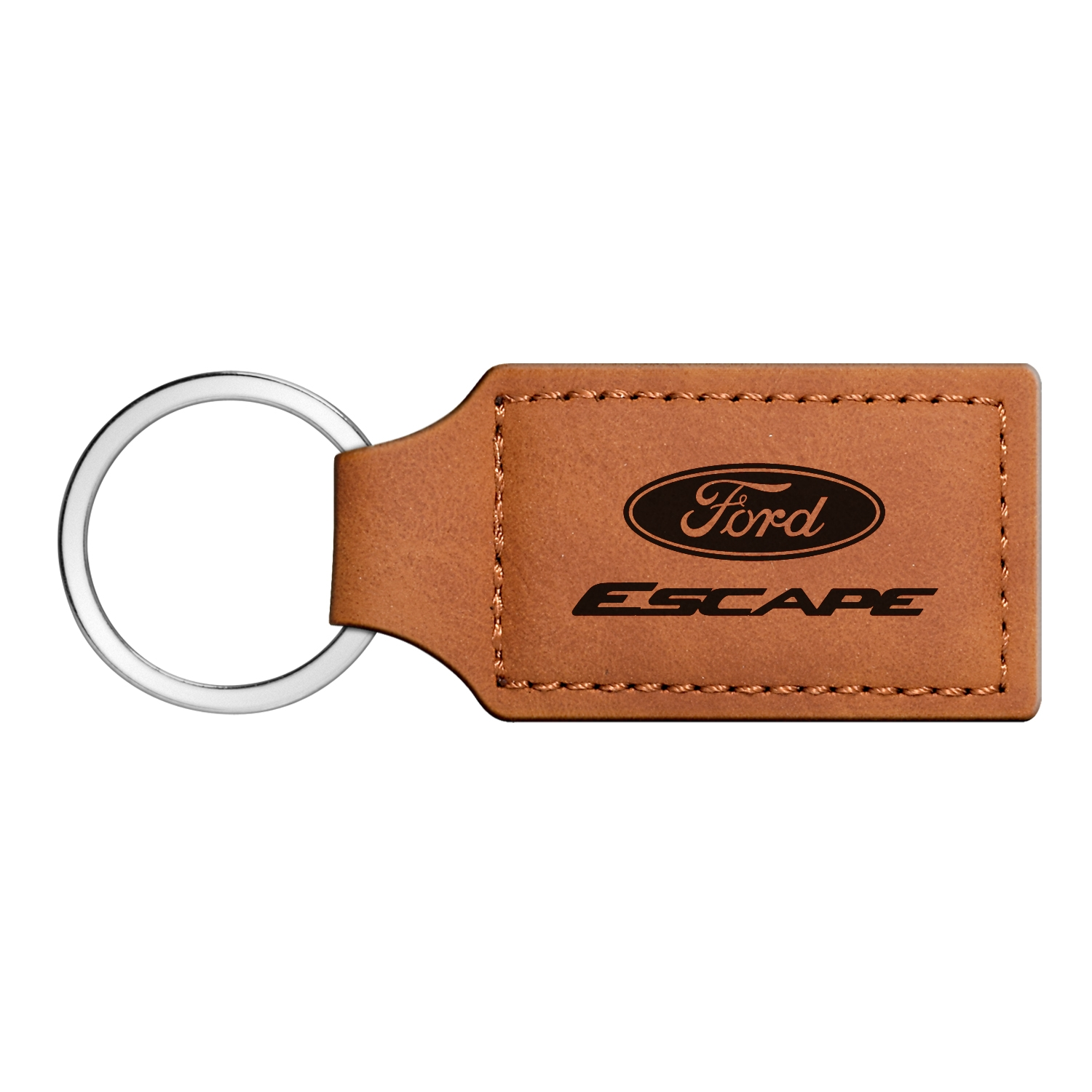 Ford Escape Rectangular Brown Leather Key Chain