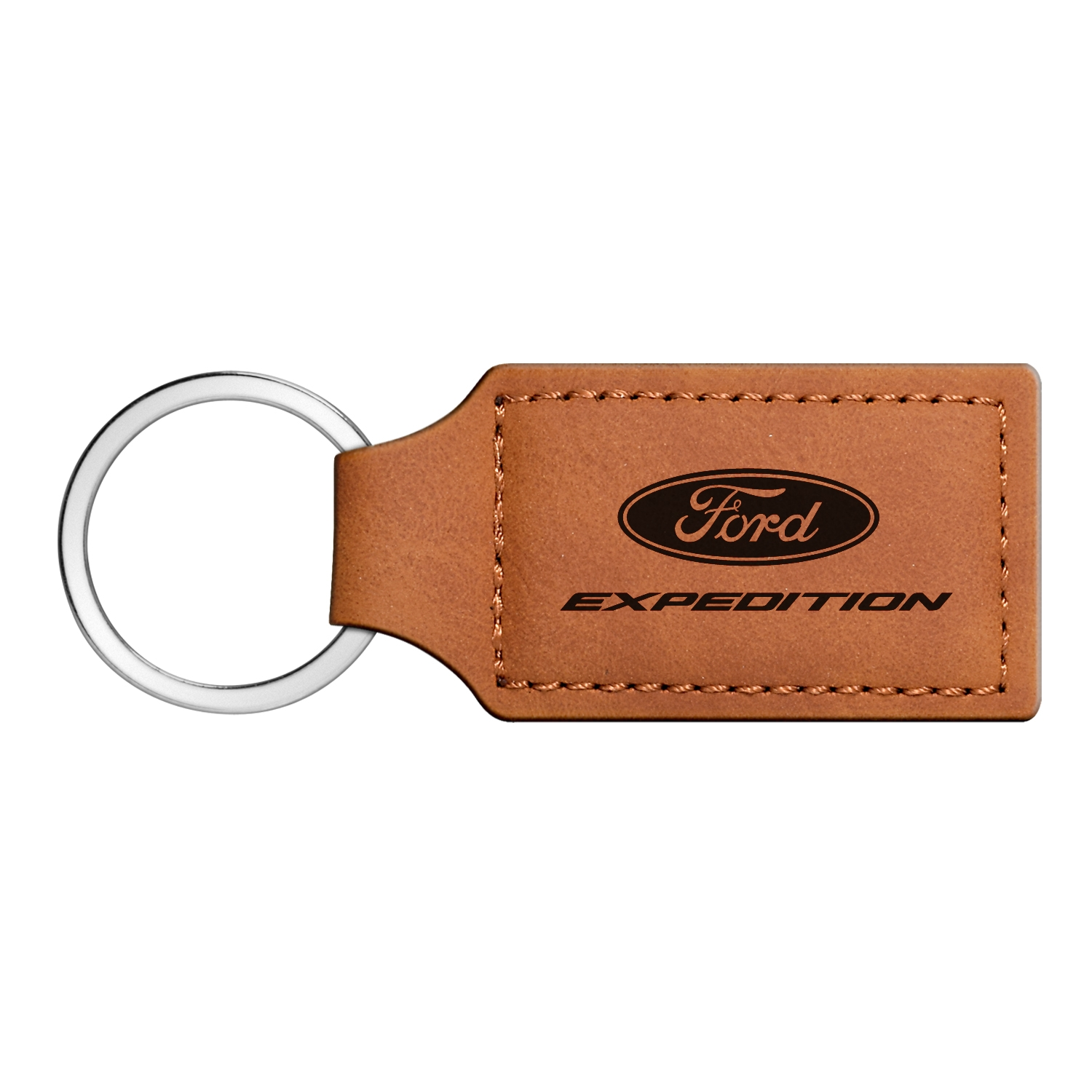 Ford Expedition Rectangular Brown Leather Key Chain