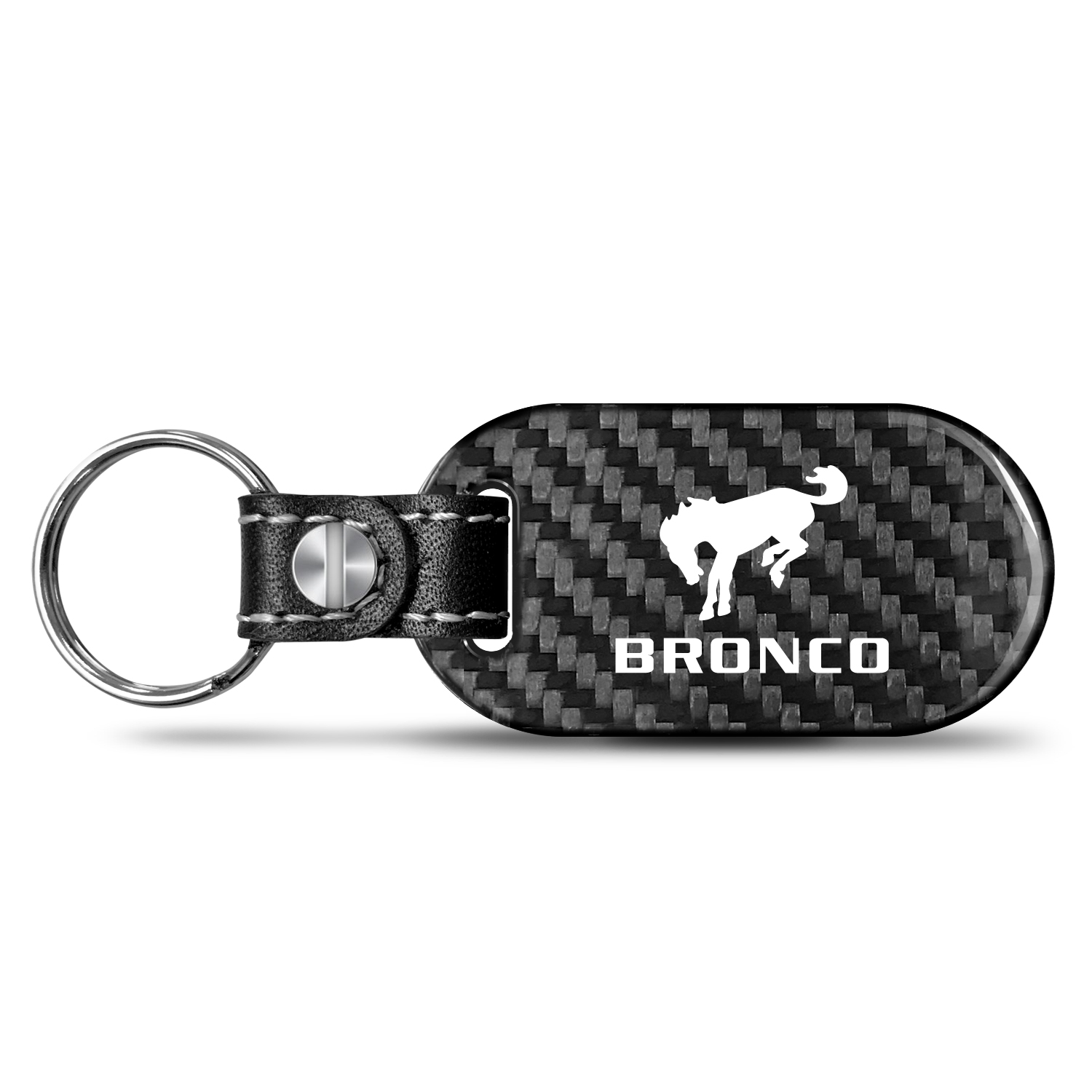 Ford Bronco Real Carbon Fiber Dog-Tag Style Key Chain