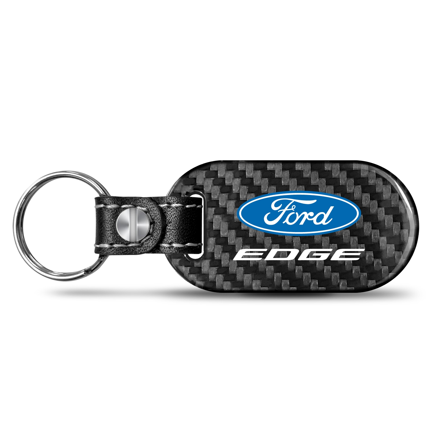 Ford Edge Real Carbon Fiber Dog-Tag Style Key Chain