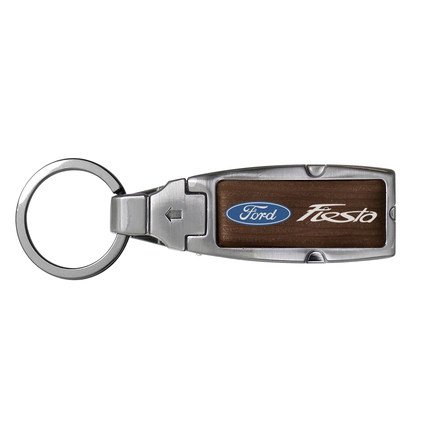 Ford Fiesta in Color Brown Leather Detachable Ring Black Metal Key Chain