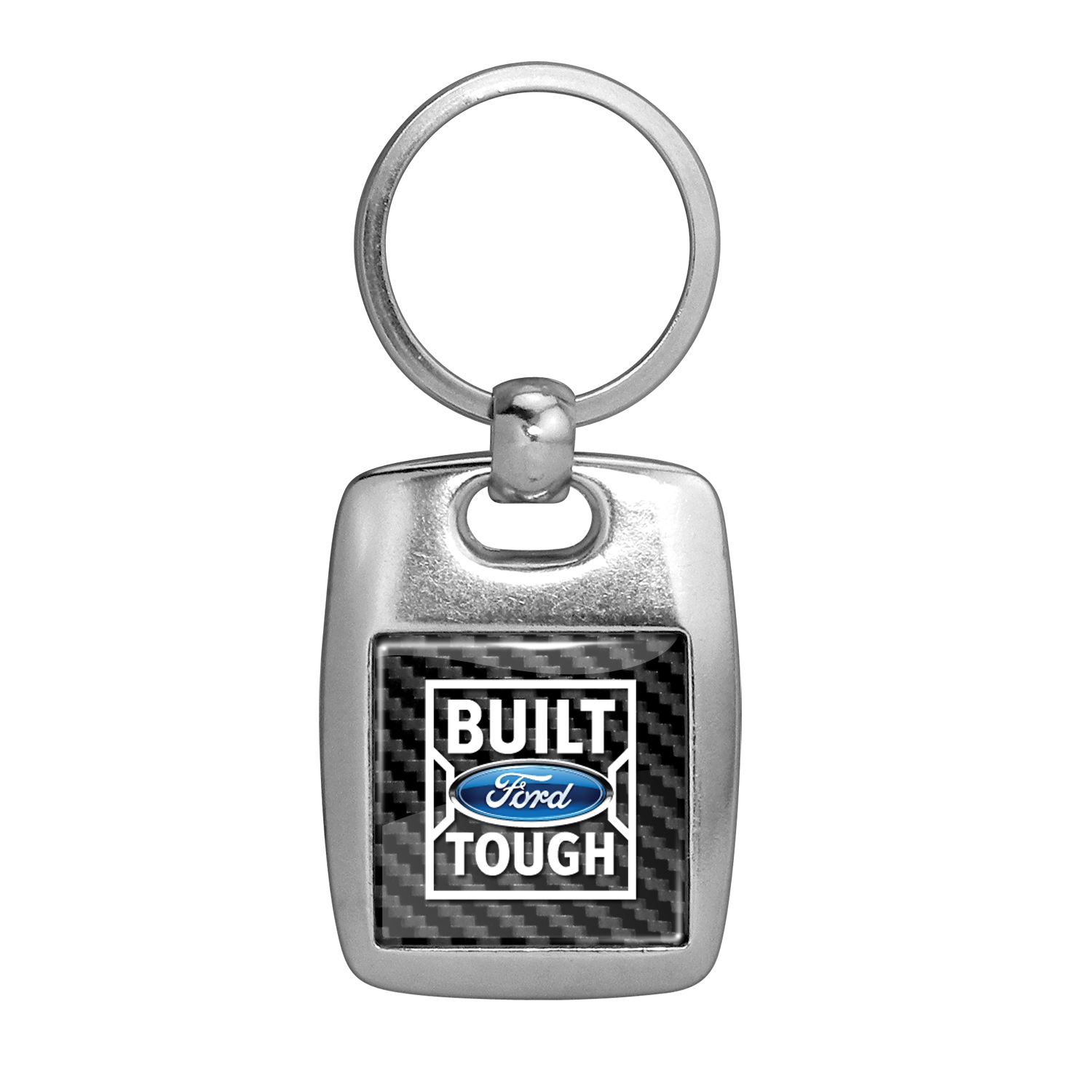 Ford Built Ford Tough in Color on Carbon Fiber Backing Brush Metal Key Chain