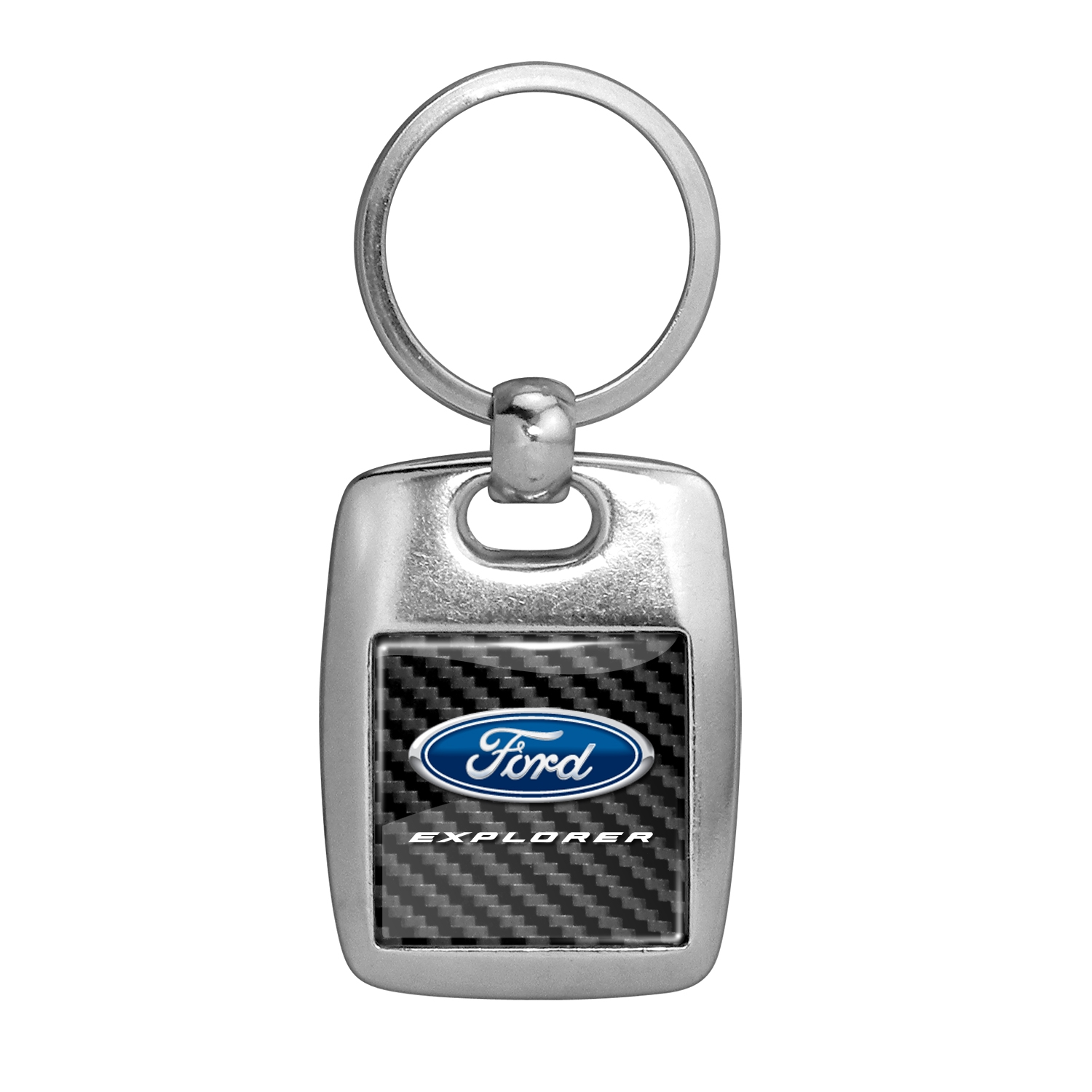 Ford Explorer in Color on Carbon Fiber Backing Brush Metal Key Chain