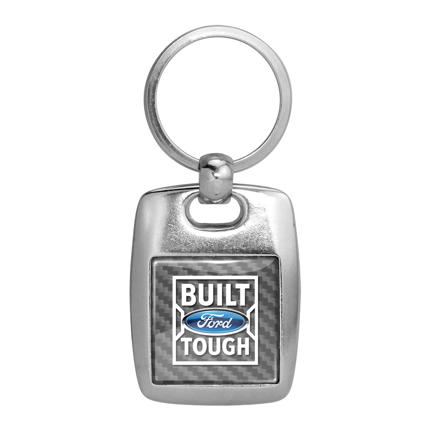 Ford Built Ford Tough Silver Carbon Fiber Backing Brush Metal Key Chain