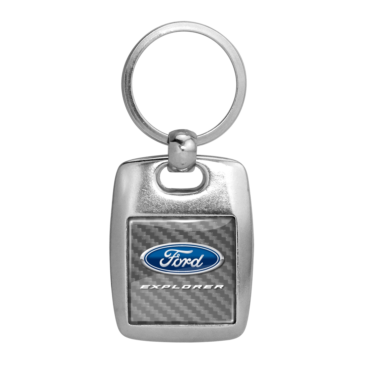 Ford Explorer Silver Carbon Fiber Backing Brush Metal Key Chain