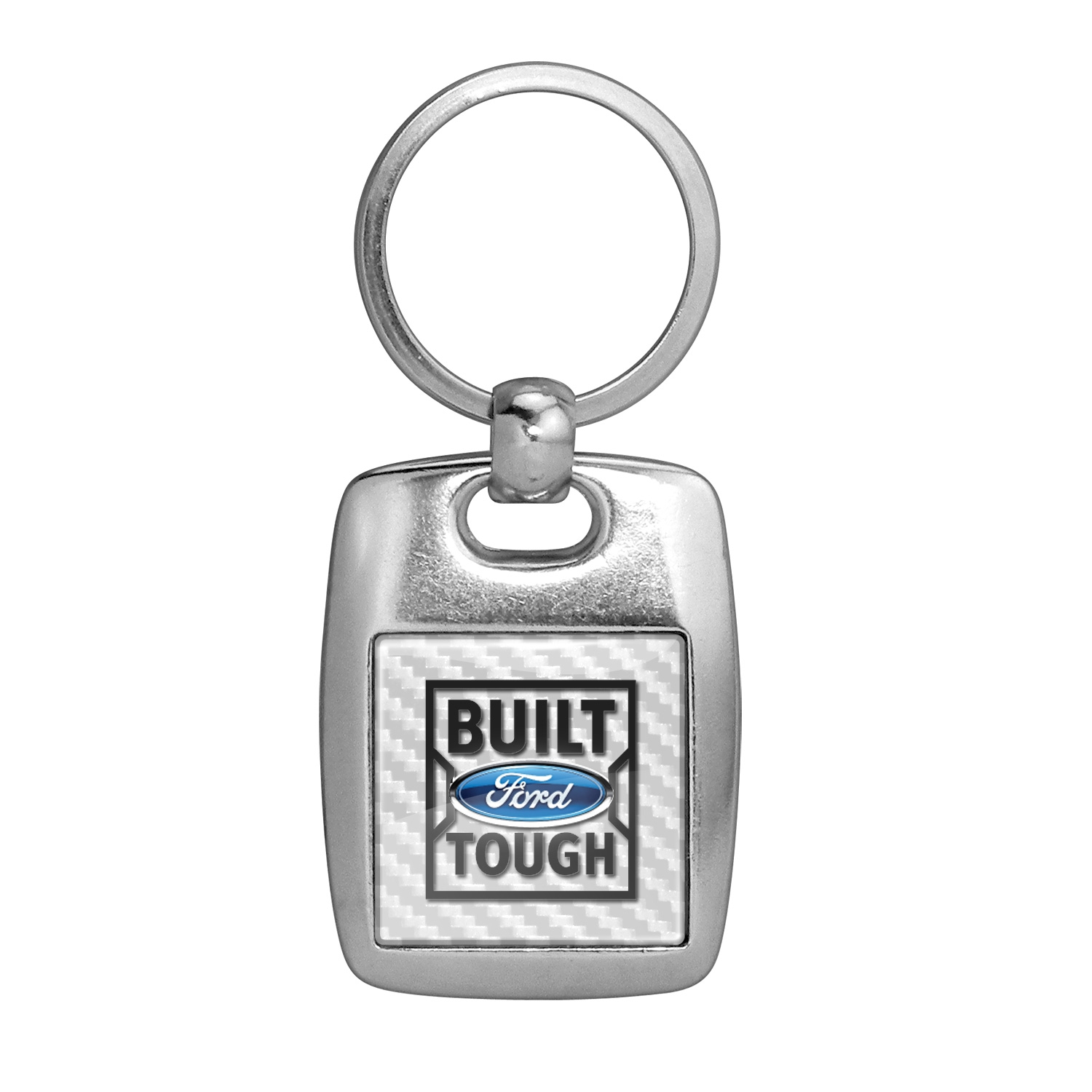Ford Built Ford Tough White Carbon Fiber Backing Brush Metal Key Chain