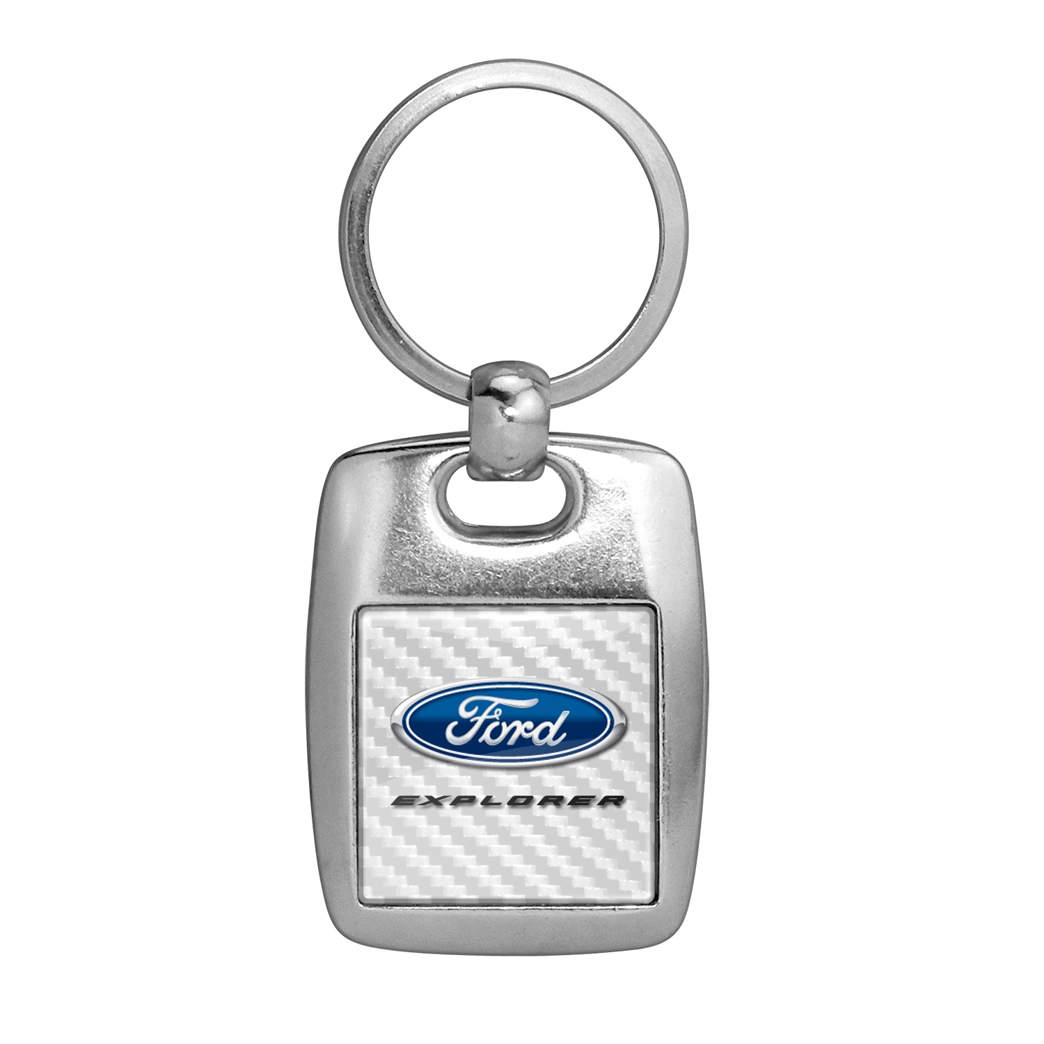 Ford Explorer White Carbon Fiber Backing Brush Metal Key Chain