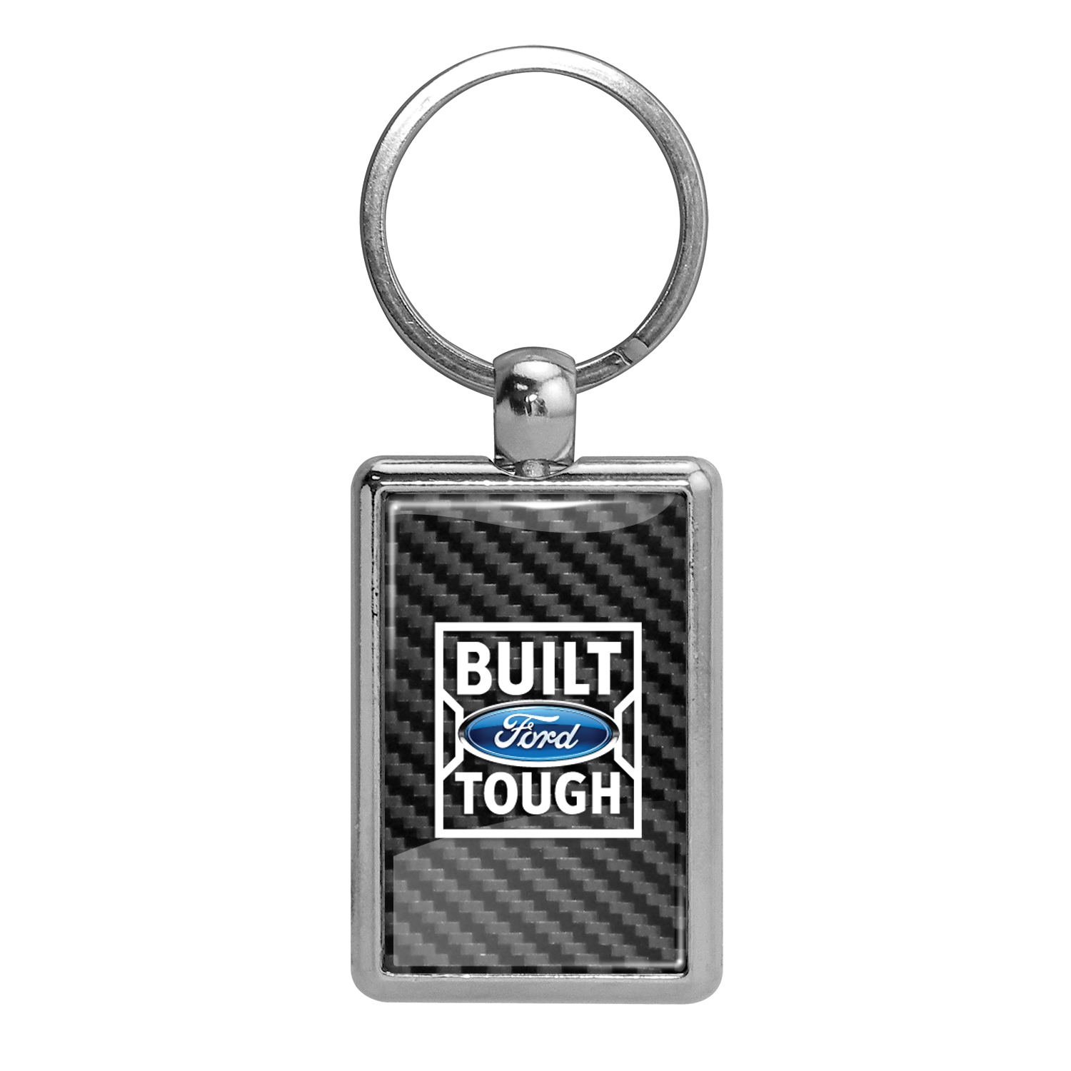 Ford Built Ford Tough in Color on Carbon Fiber Backing Brush Rectangle Metal Key Chain