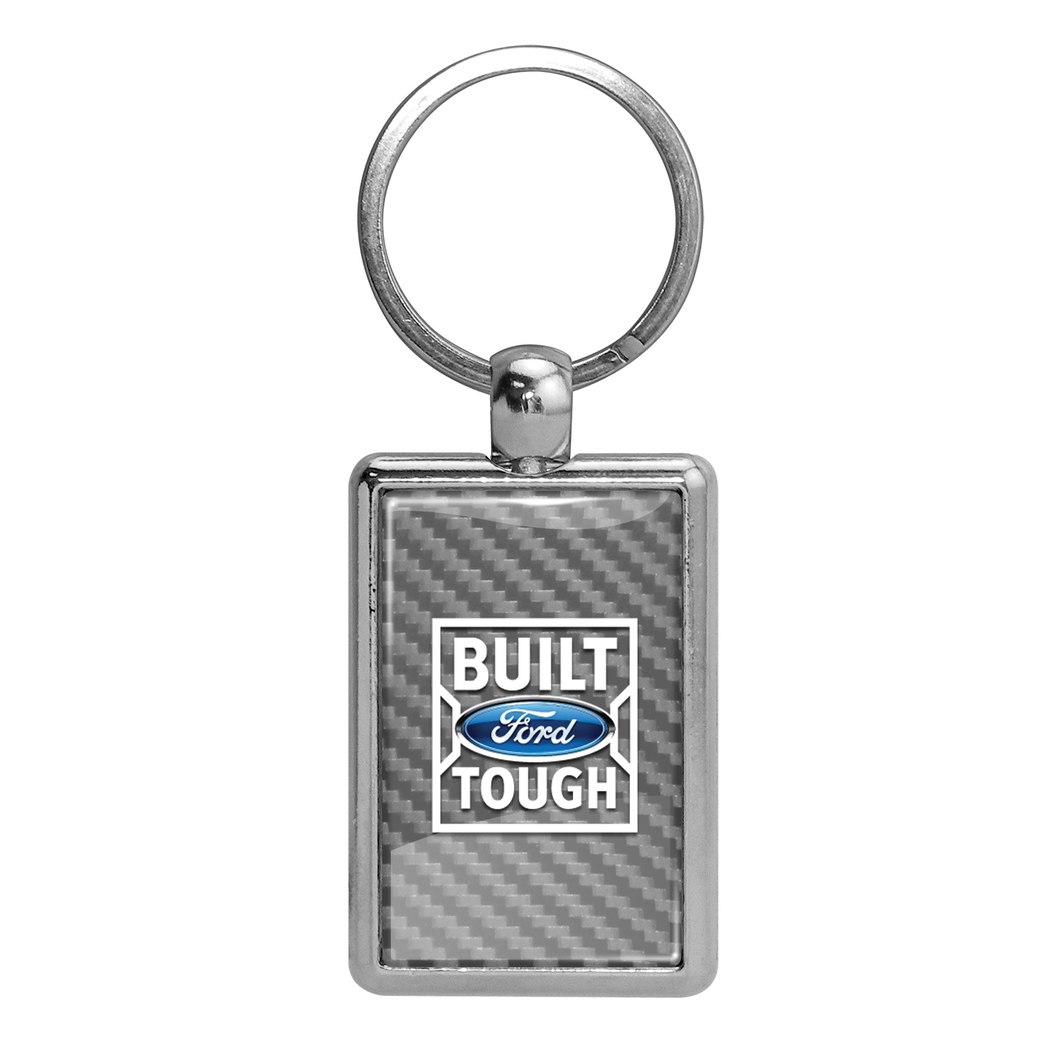 Ford Built Ford Tough Silver Carbon Fiber Backing Brush Rectangle Metal Key Chain