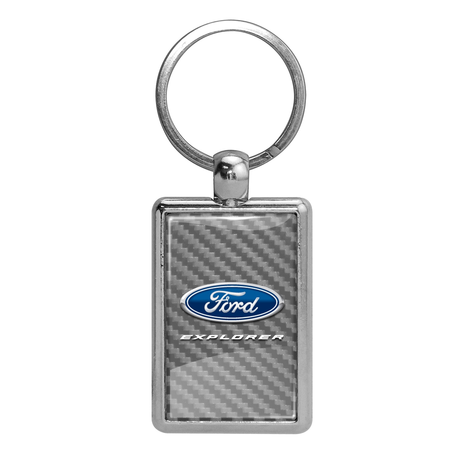 Ford Explorer Silver Carbon Fiber Backing Brush Rectangle Metal Key Chain