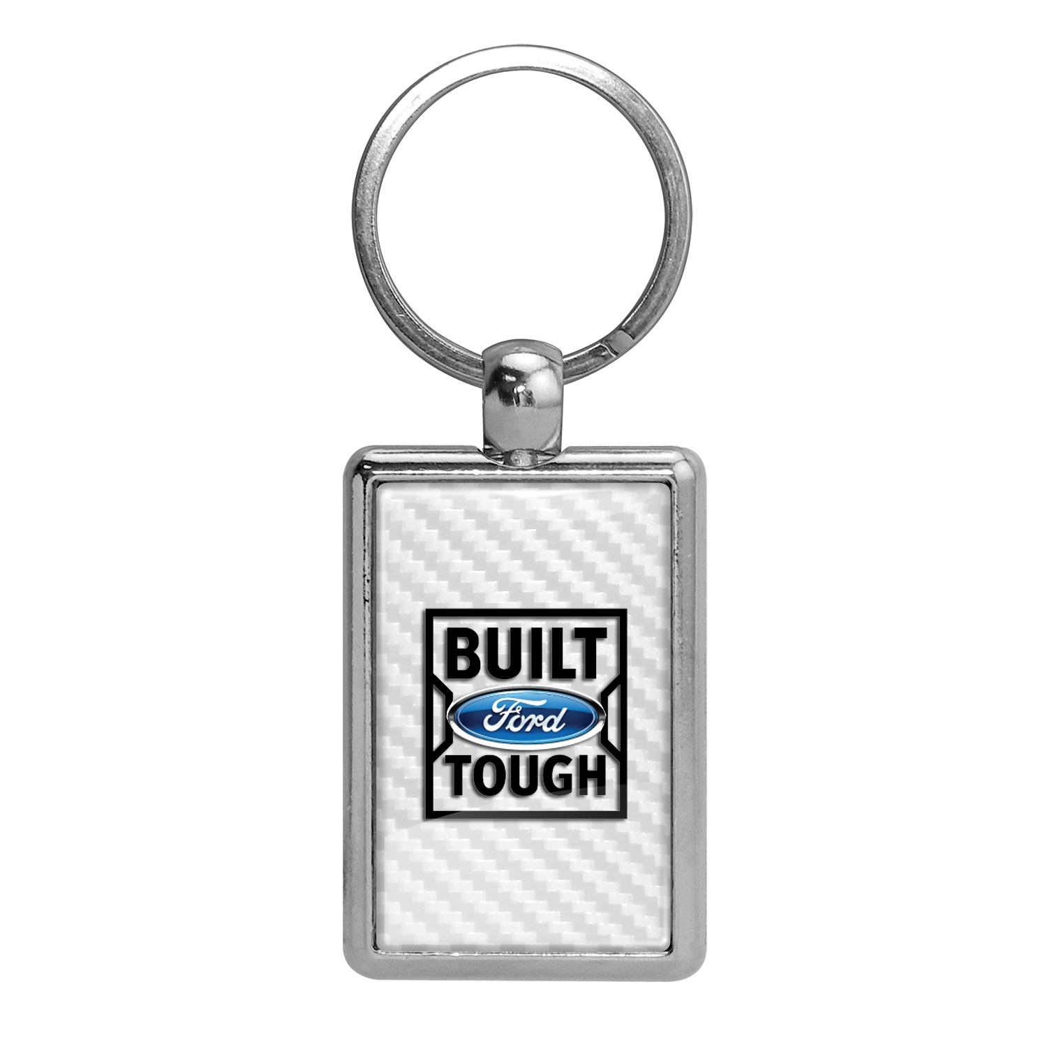 Ford Built Ford Tough White Carbon Fiber Backing Brush Rectangle Metal Key Chain