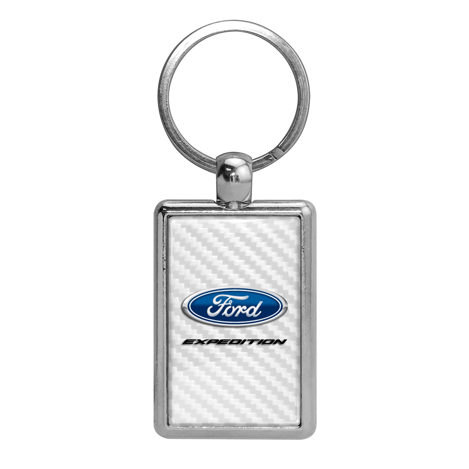 Ford Expedition White Carbon Fiber Backing Brush Rectangle Metal Key Chain