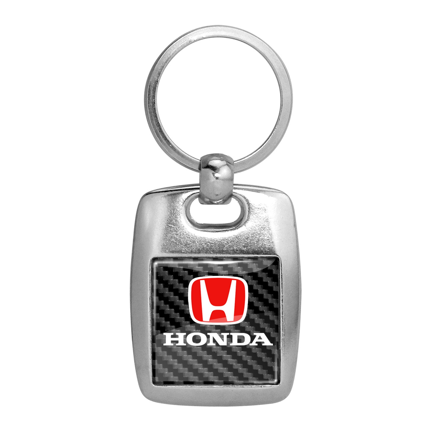 Honda Logo in Red on Carbon Fiber Backing Brush Metal Key Chain