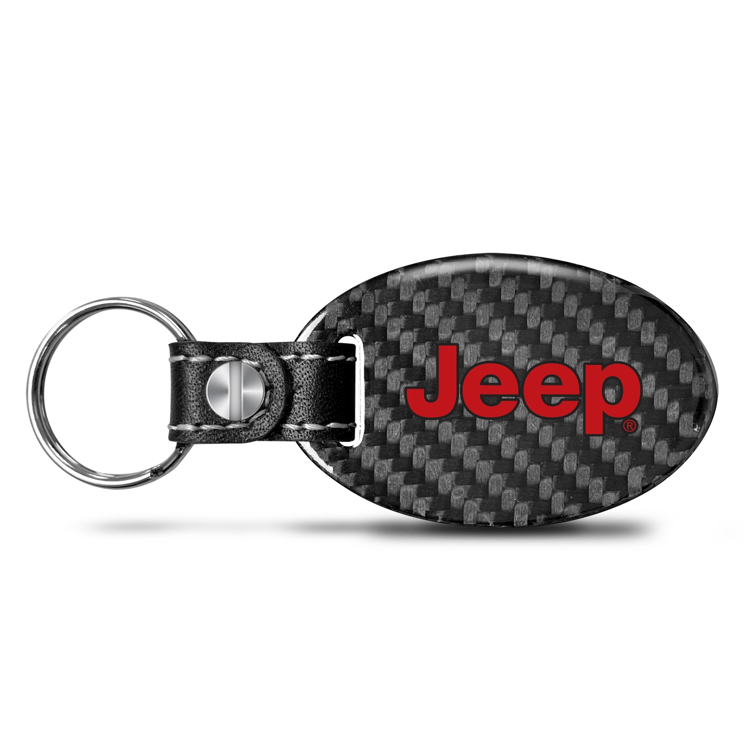 Jeep in Red Real Carbon Fiber Large Oval Shape with Black Leather Strap Key Chain