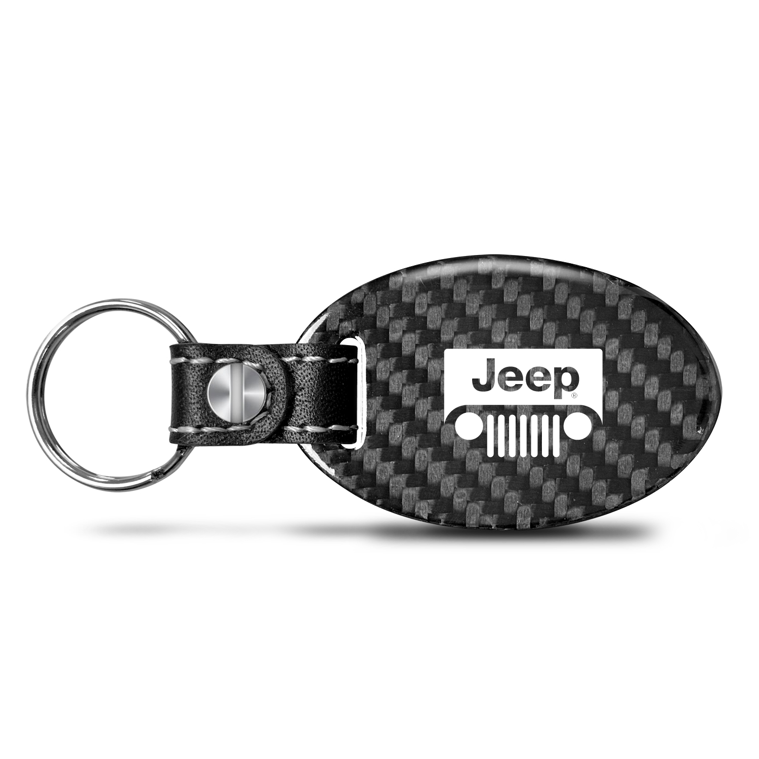 Jeep Grill Real Carbon Fiber Large Oval Shape with Black Leather Strap Key Chain