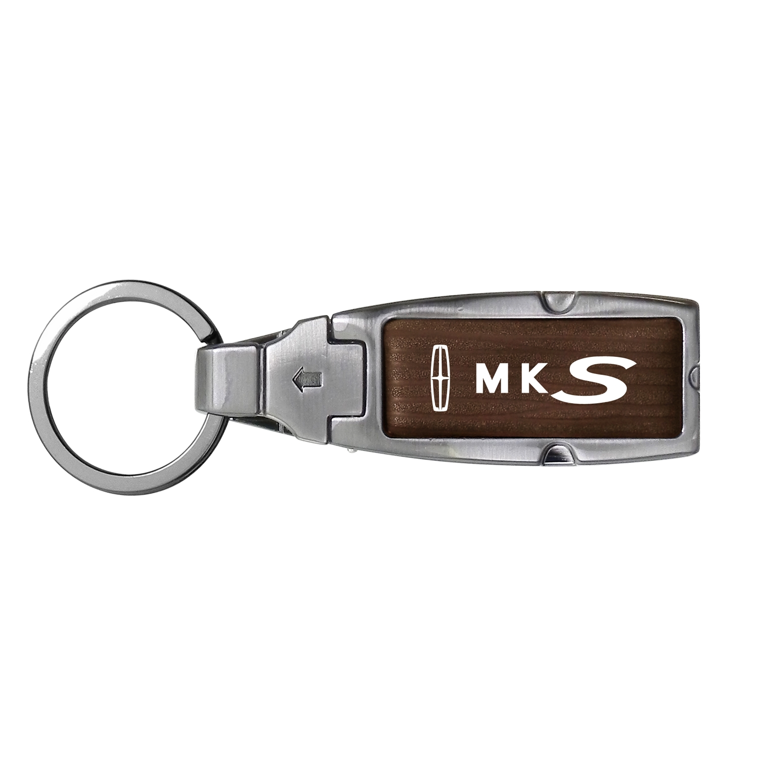 Lincoln MKS Brown Leather Detachable Ring Black Metal Key Chain