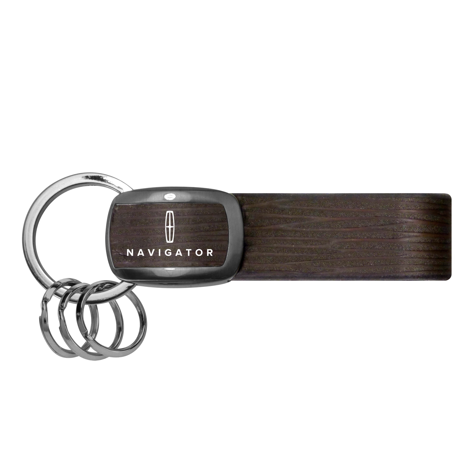 Lincoln Navigator Black Nickel with Brown Leather Stripe Key Chain