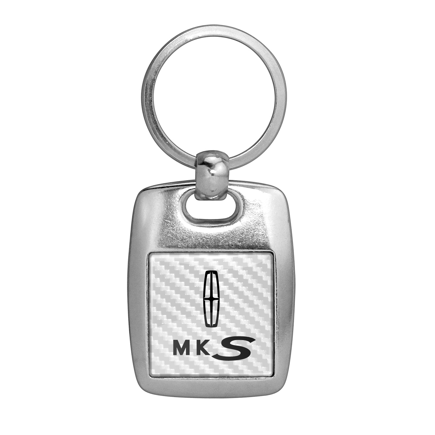 Lincoln MKS White Carbon Fiber Backing Brush Metal Key Chain