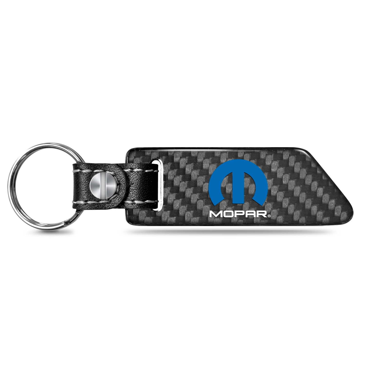 Mopar Real Carbon Fiber Blade Style with Black Leather Strap Key Chain