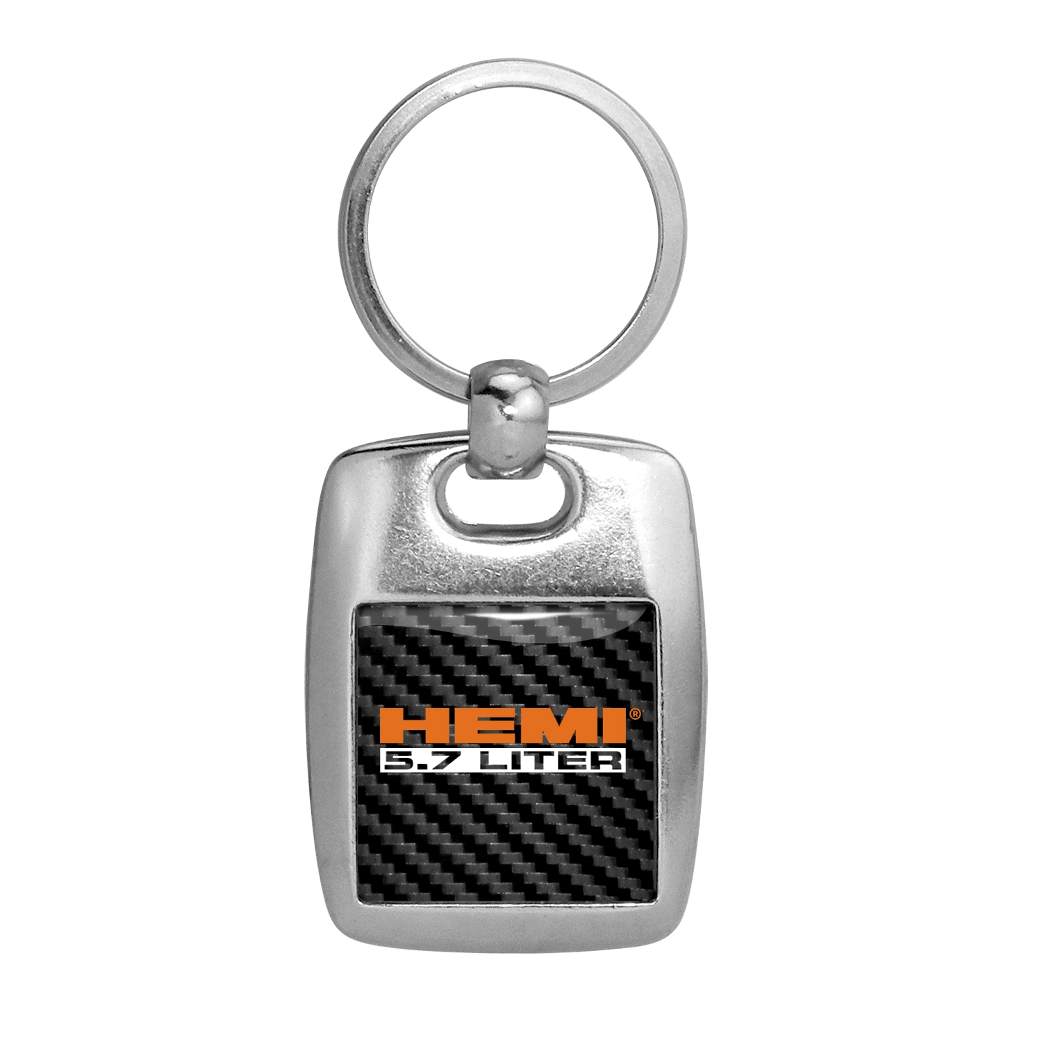 HEMI 5.7 Liter Carbon Fiber Backing Brush Metal Key Chain
