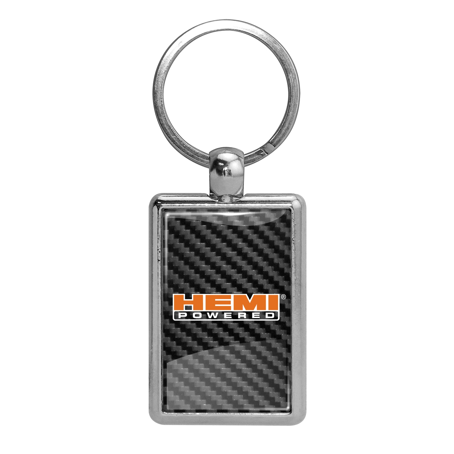 HEMI Powered Carbon Fiber Backing Brush Rectangle Metal Key Chain