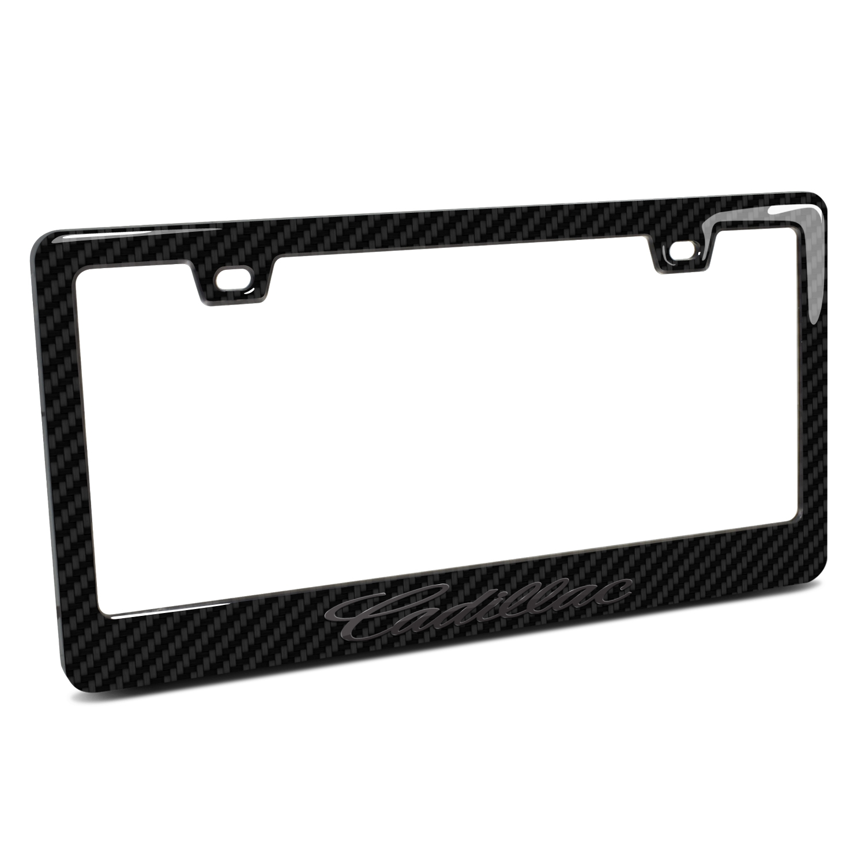 Cadillac Script in 3D Black on Black Real 3K Carbon Fiber Finish ABS Plastic License Plate Frame