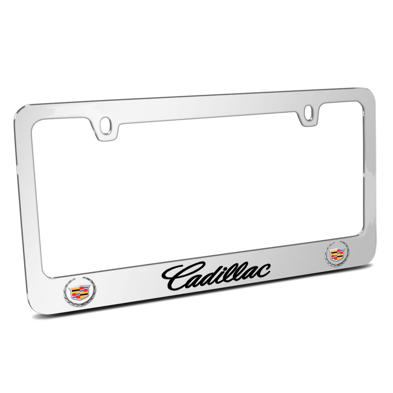 Cadillac 2013 Dual Logo Mirror Chrome Metal License Plate Frame