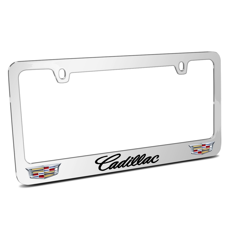 Cadillac 2015 Dual Logo Mirror Chrome Metal License Plate Frame